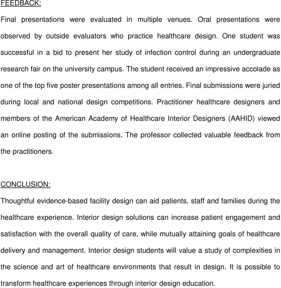 Transforming Healthcare Through Interior Design Education Kathryn Wasemiller Abilene Christian University Abstract Pdf Free Download