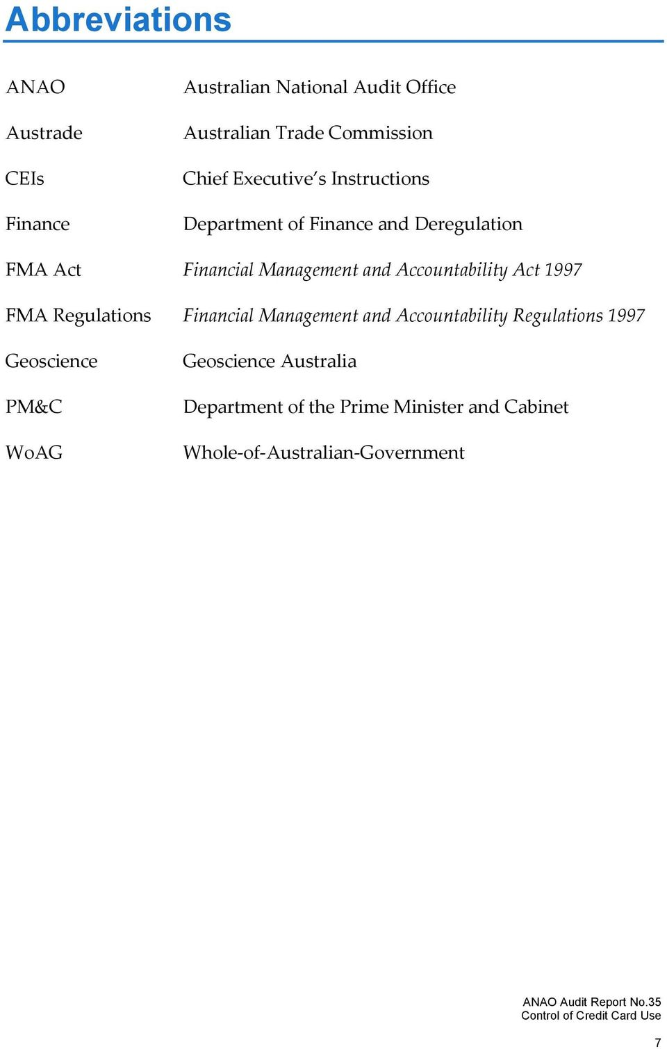 Accountability Act 1997 FMA Regulations Financial Management and Accountability Regulations 1997