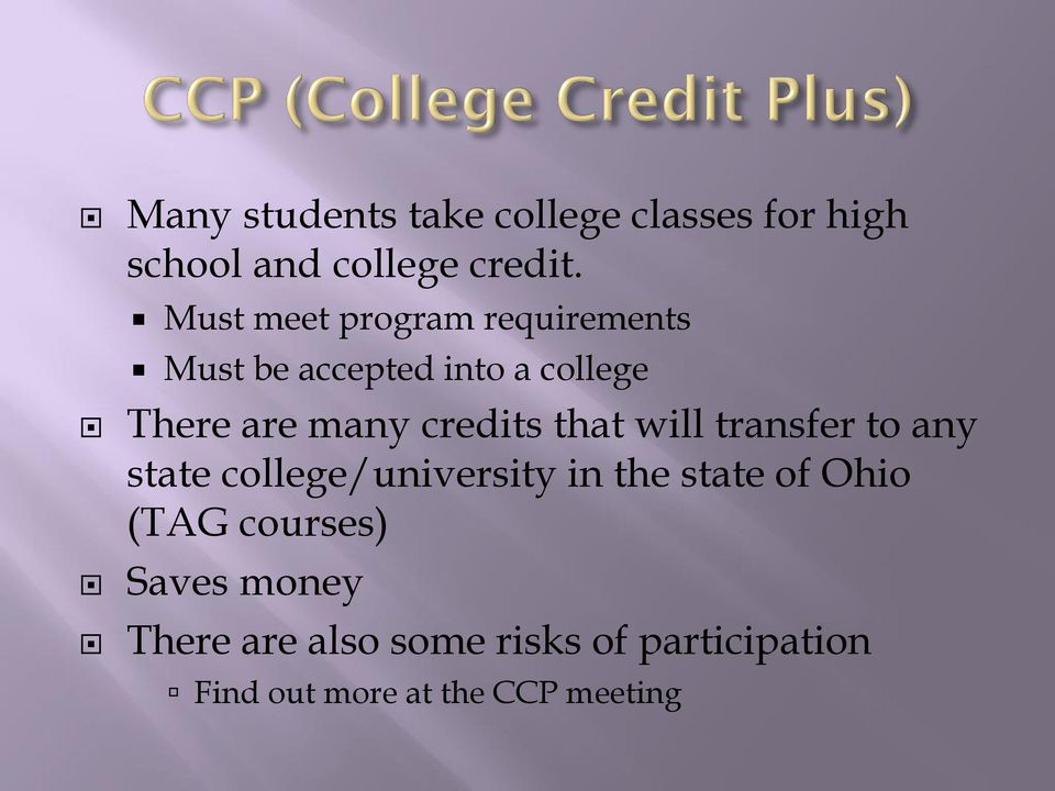 credits that will transfer to any state college/university in the state of Ohio