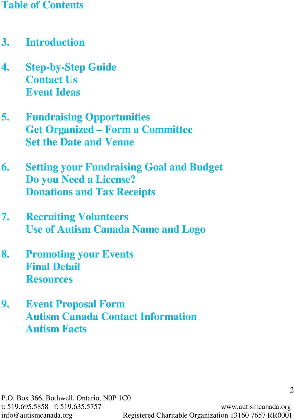 Setting your Fundraising Goal and Budget Do you Need a License? Donations and Tax Receipts 7.