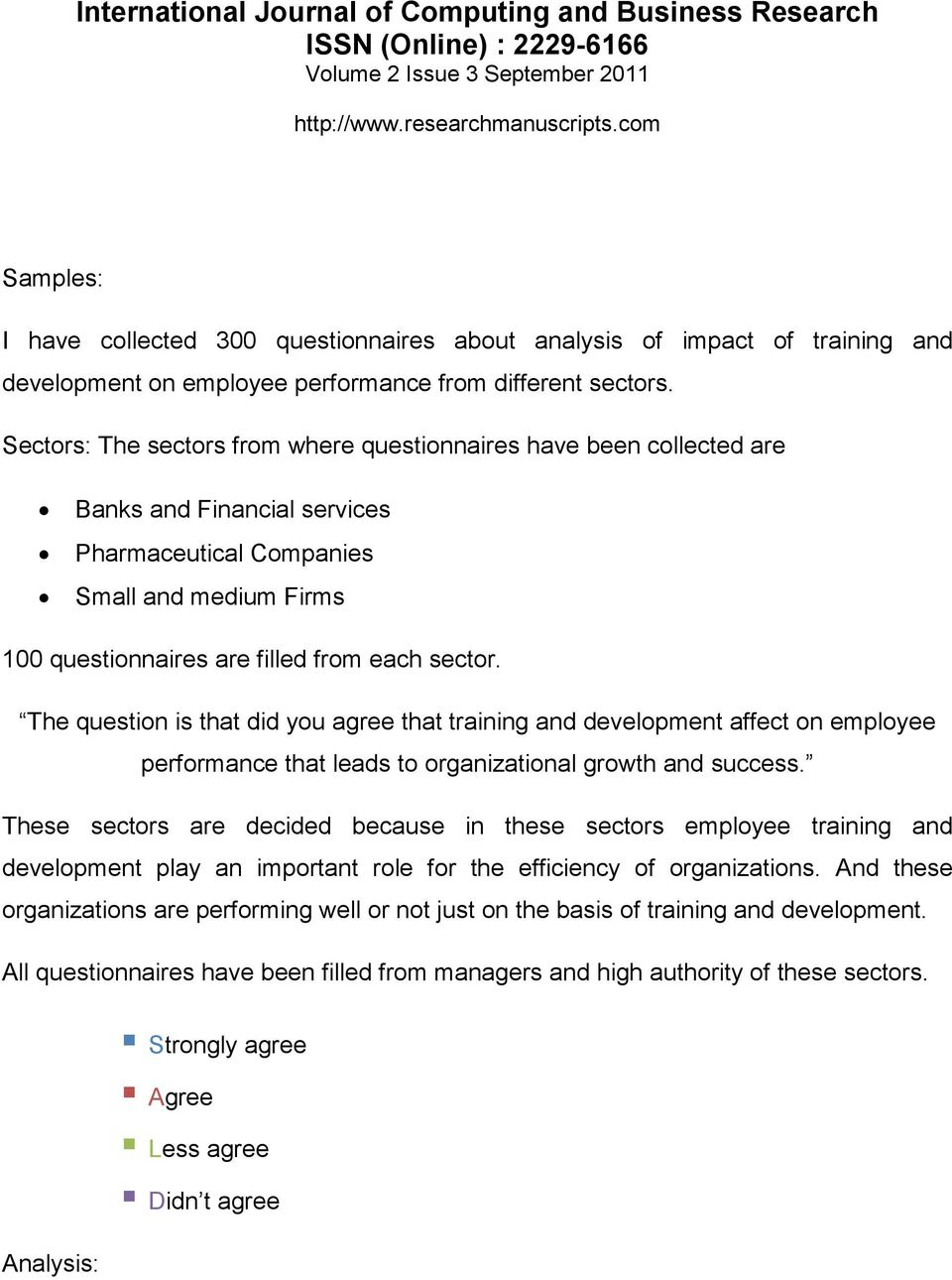 impact of training on employee performance questionnaire