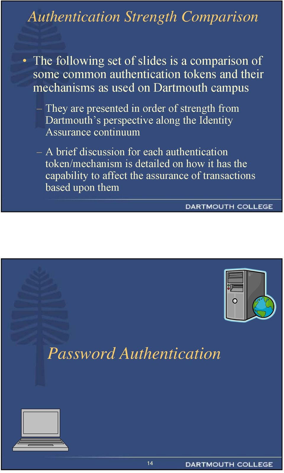 perspective along the Identity Assurance continuum A brief discussion for each authentication token/mechanism is