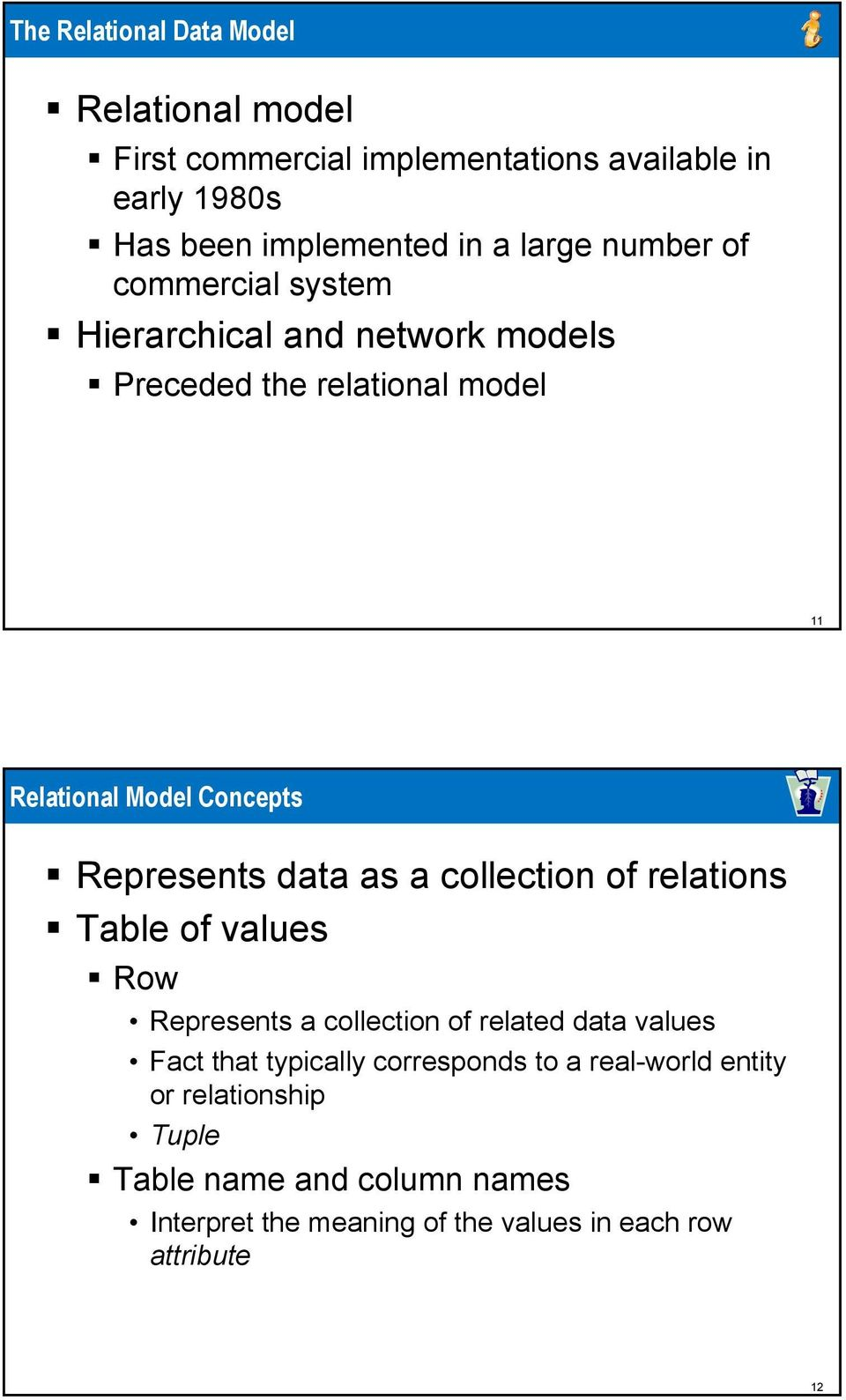 data as a collection of relations Table of values Row Represents a collection of related data values Fact that typically corresponds