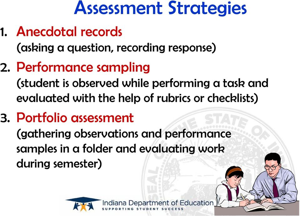 Performance sampling (student is observed while performing a task and evaluated