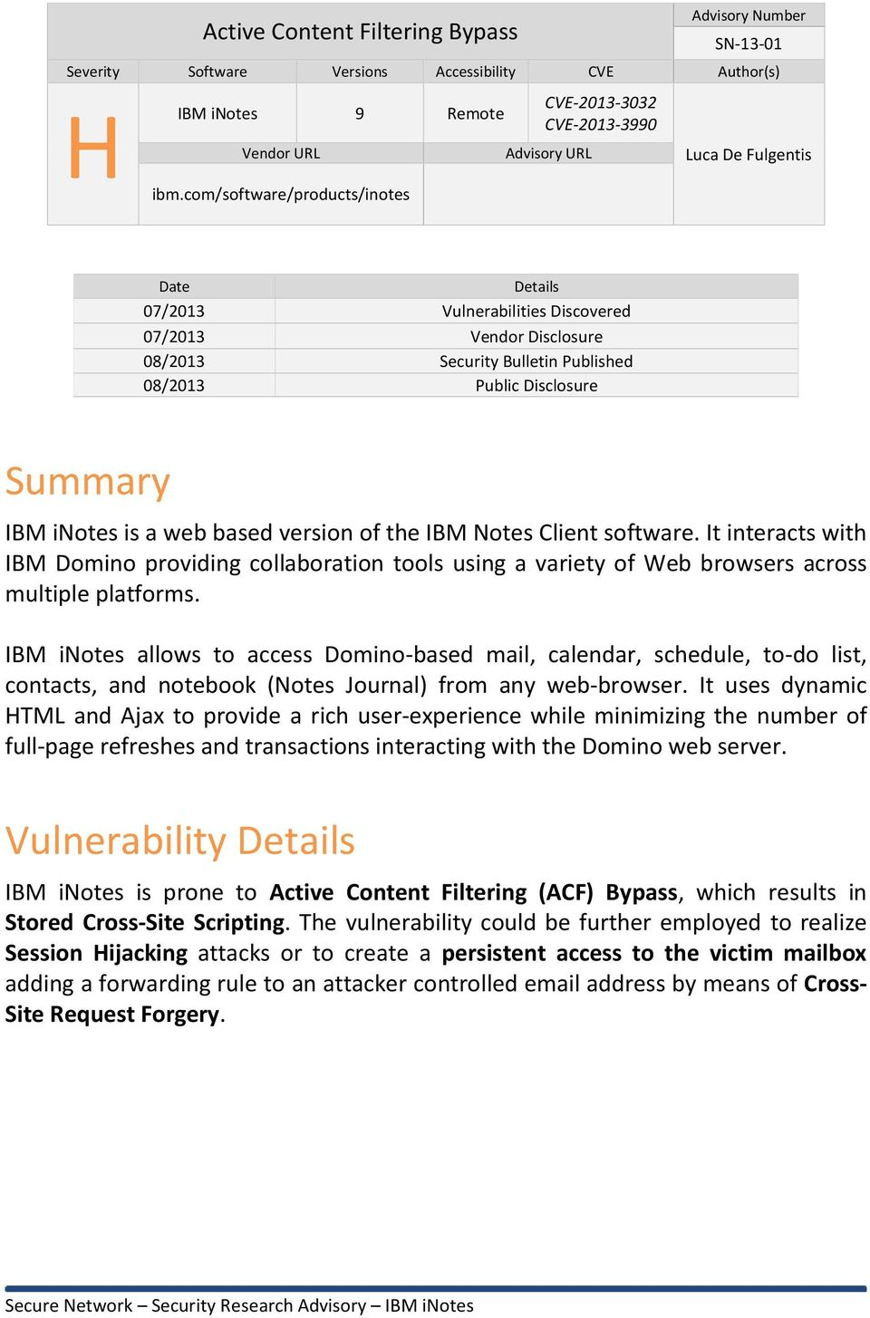 Security Research Advisory IBM inotes 9 Active Content Filtering