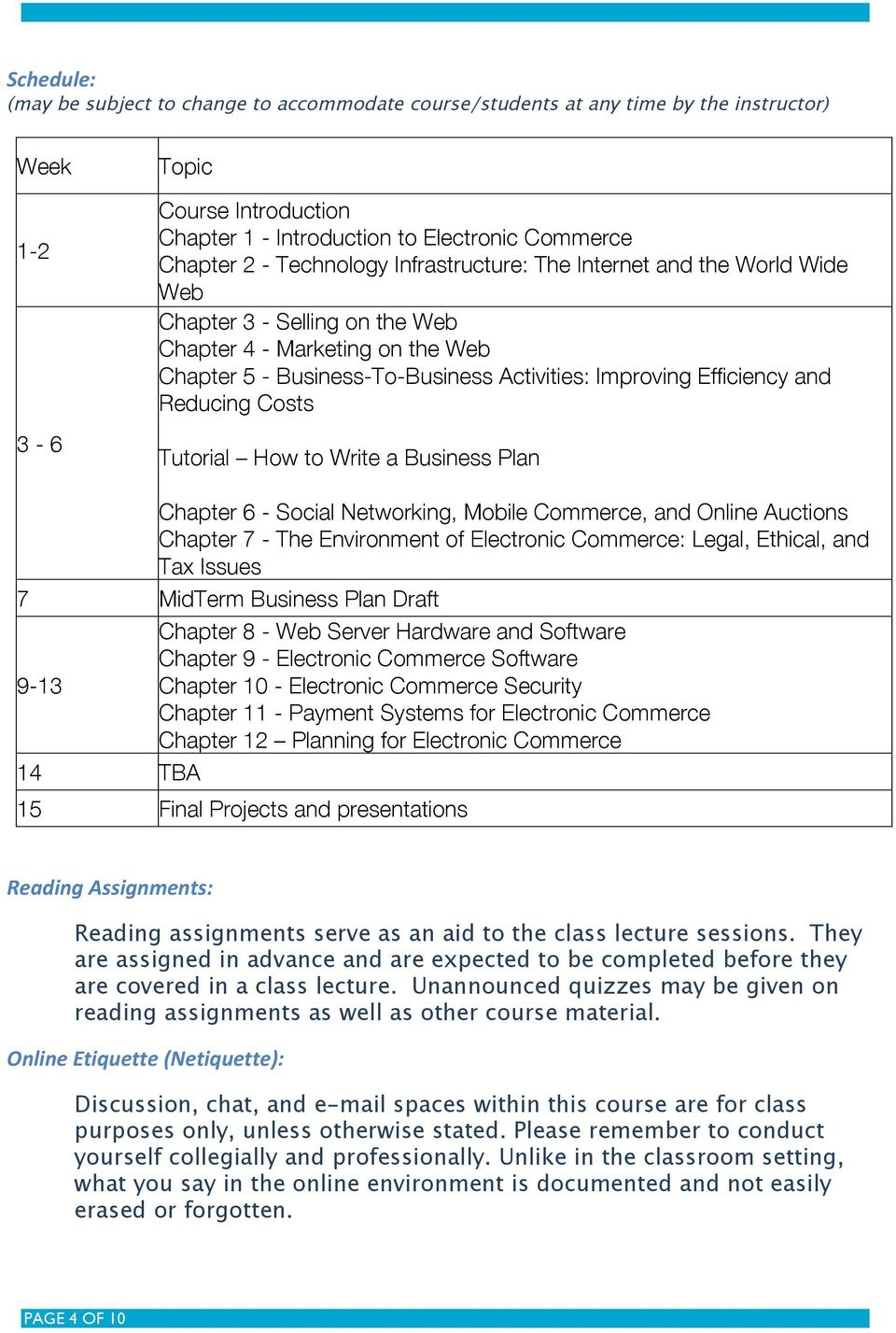 Reducing Costs Tutorial How to Write a Business Plan Chapter 6 - Social Networking, Mobile Commerce, and Online Auctions Chapter 7 - The Environment of Electronic Commerce: Legal, Ethical, and Tax