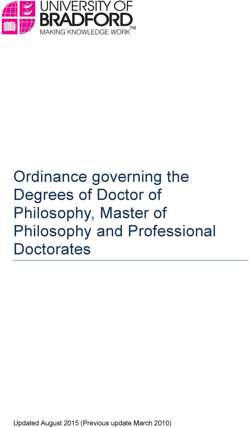 Ordinance governing the Degrees of Doctor of Philosophy
