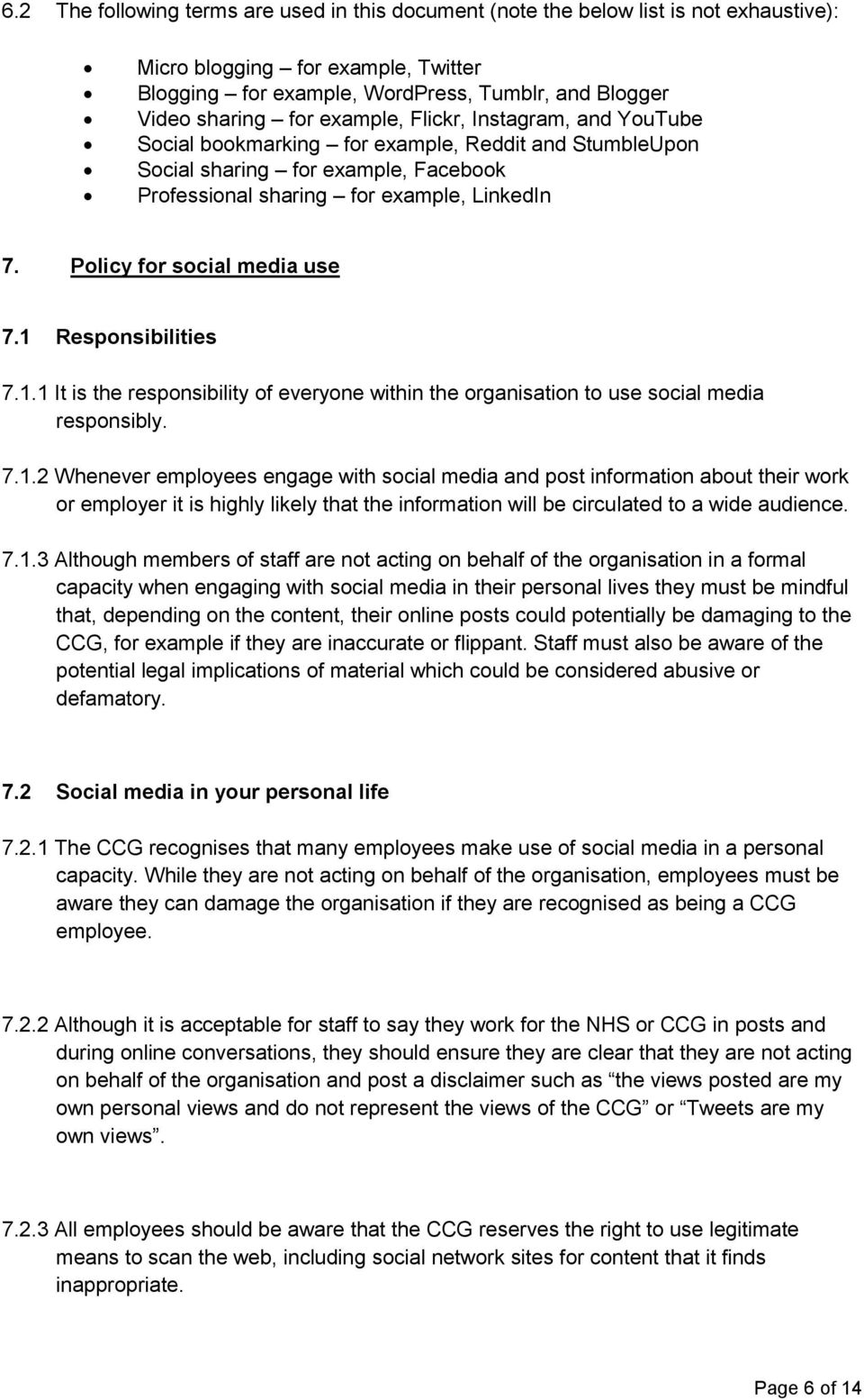 Policy for social media use 7.1