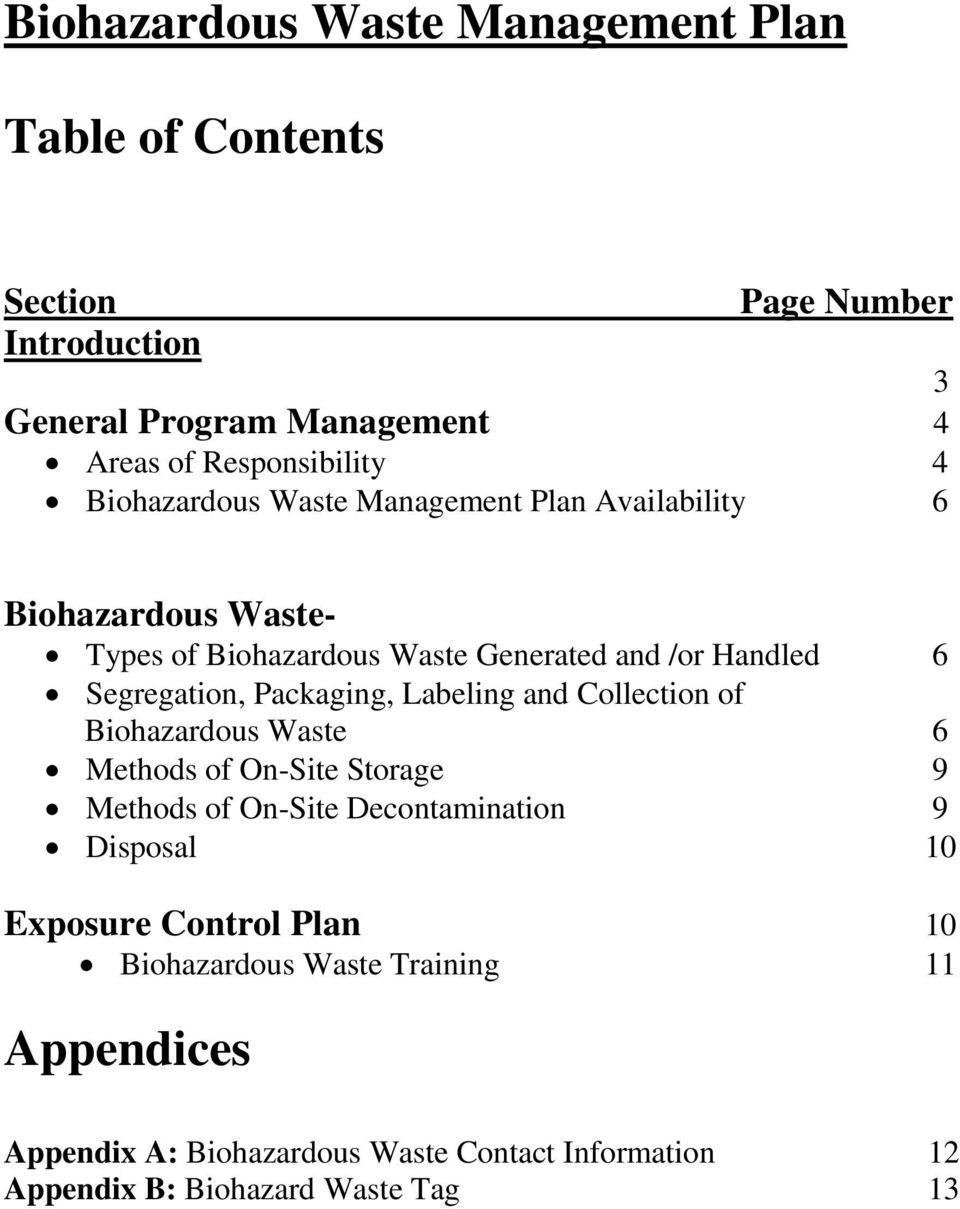 Packaging, Labeling and Collection of Biohazardous Waste 6 Methods of On-Site Storage 9 Methods of On-Site Decontamination 9 Disposal 10
