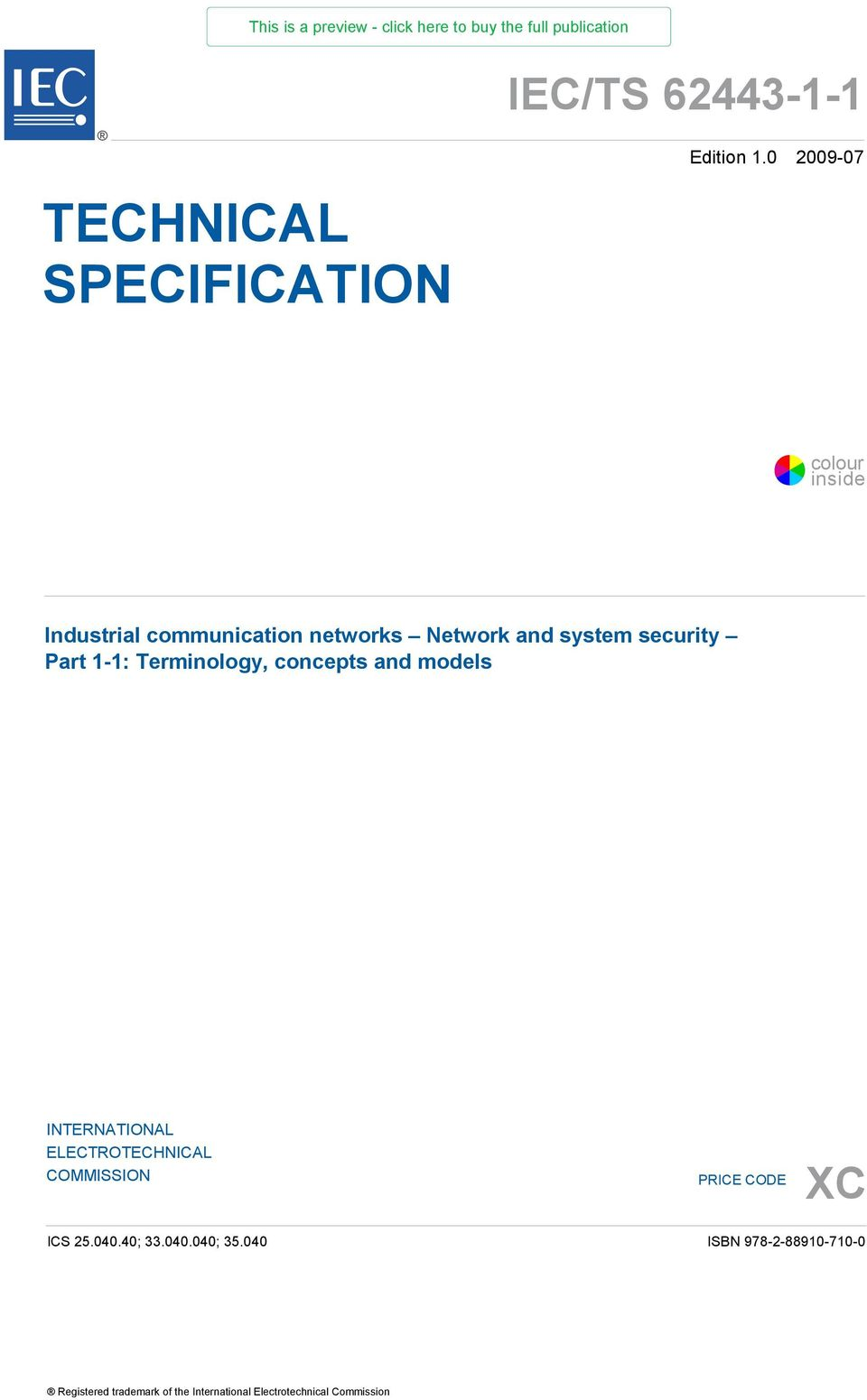 1-1: Terminology, concepts and models INTERNATIONAL ELECTROTECHNICAL  COMMISSION PRICE CODE