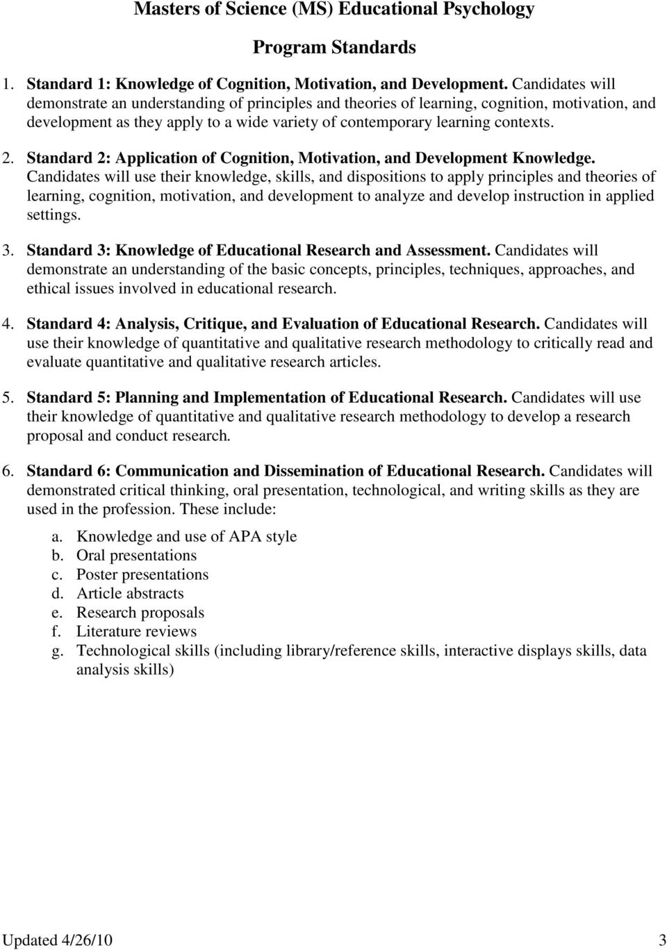 Standard 2: Application of Cognition, Motivation, and Development Knowledge.