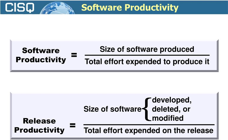 Release Productivity = Size of software { developed,