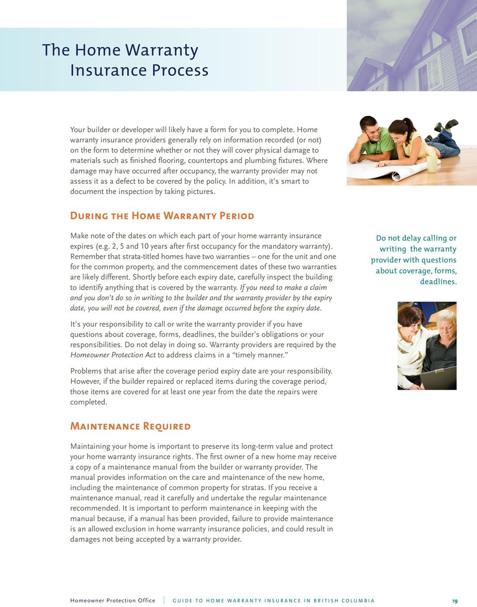 Guide To Home Warranty Insurance In British Columbia Pdf Free Download