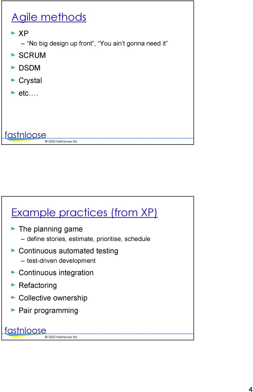 Example practices (from XP) The planning game define stories, estimate,