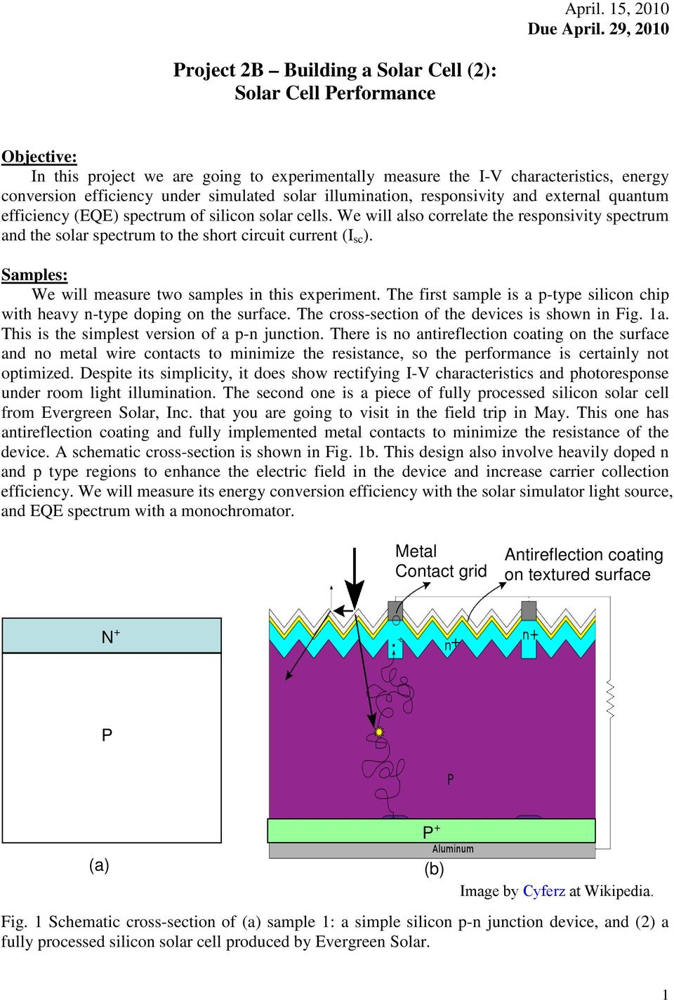 project 2b building a solar cell 2 solar cell performance pdf