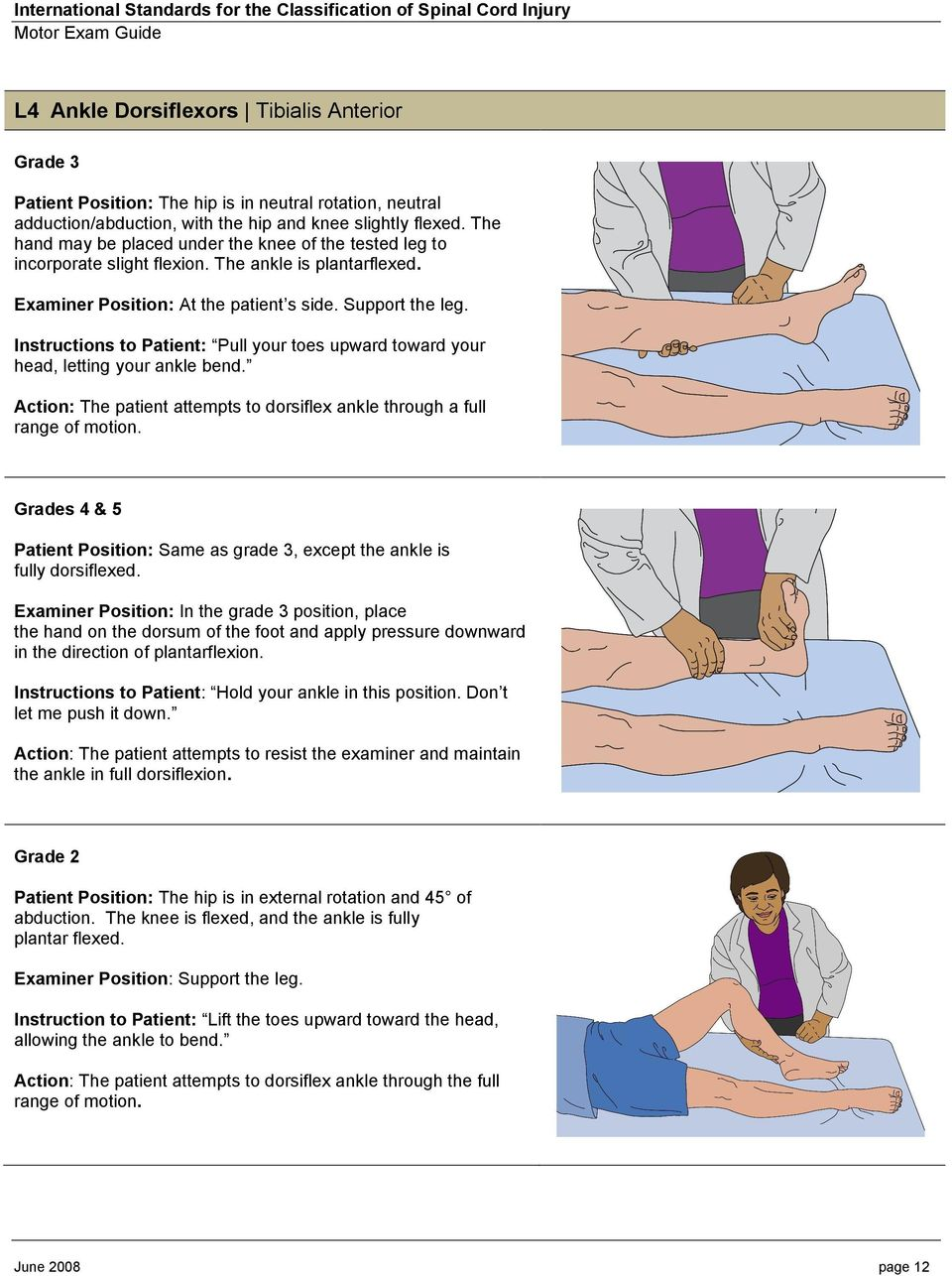 Instructions to Patient: Pull your toes upward toward your head, letting your ankle bend. Action: The patient attempts to dorsiflex ankle through a full range of motion.
