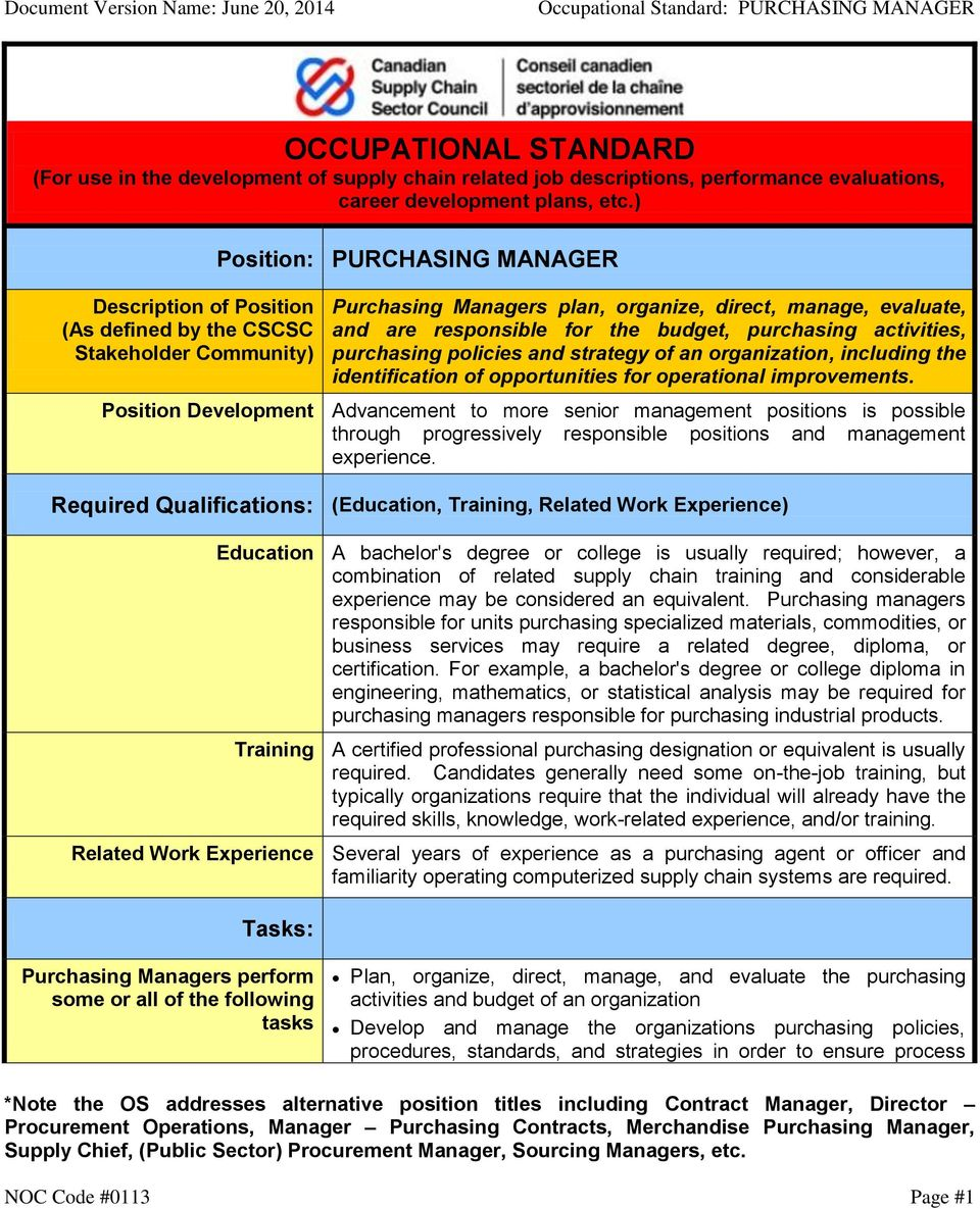 OCCUPATIONAL STANDARD (For use in the development of supply