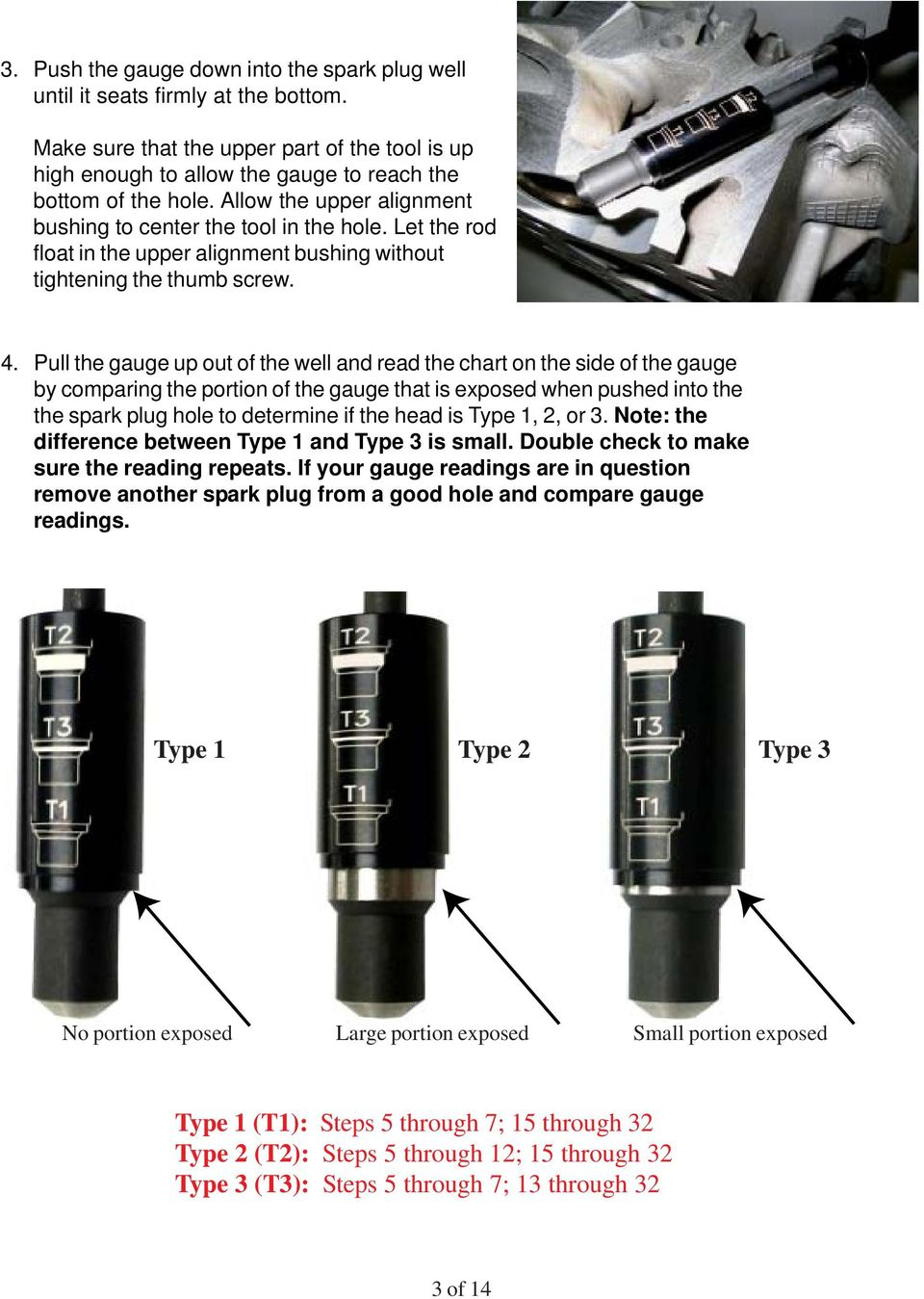 Pull the gauge up out of the well and read the chart on the side of the gauge by comparing the portion of the gauge that is exposed when pushed into the the spark plug hole to determine if the head