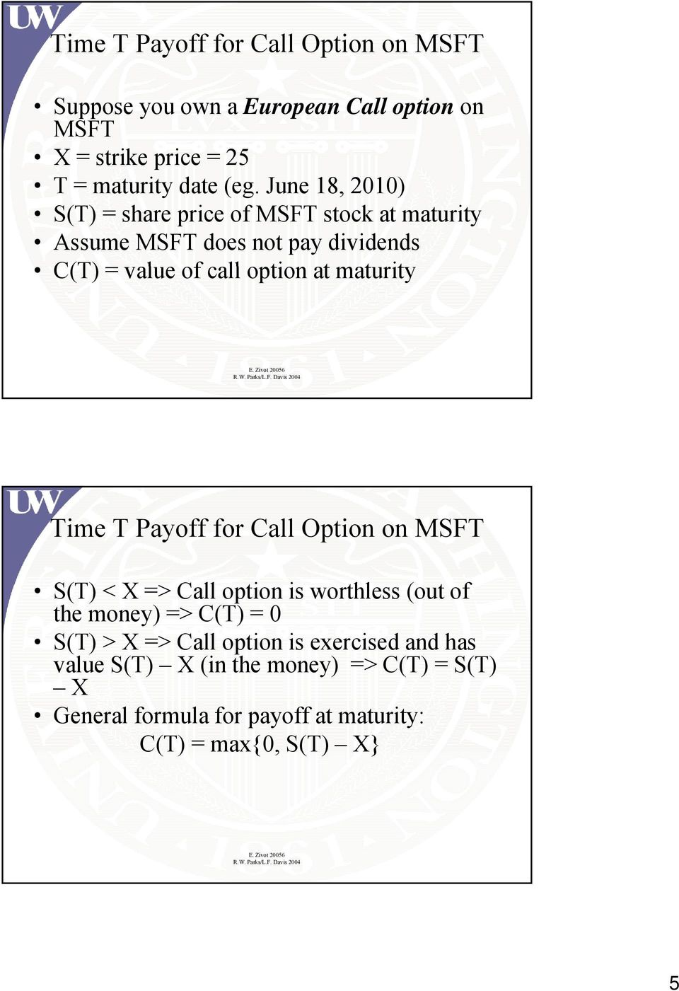 maturity Time T Payoff for Call Option on MSFT S(T) < => Call option is worthless (out of the money) =>C(T)= 0 S(T) > => Call
