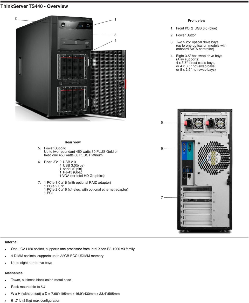 Product Specifications Reference Lenovo ThinkServer Servers - PDF