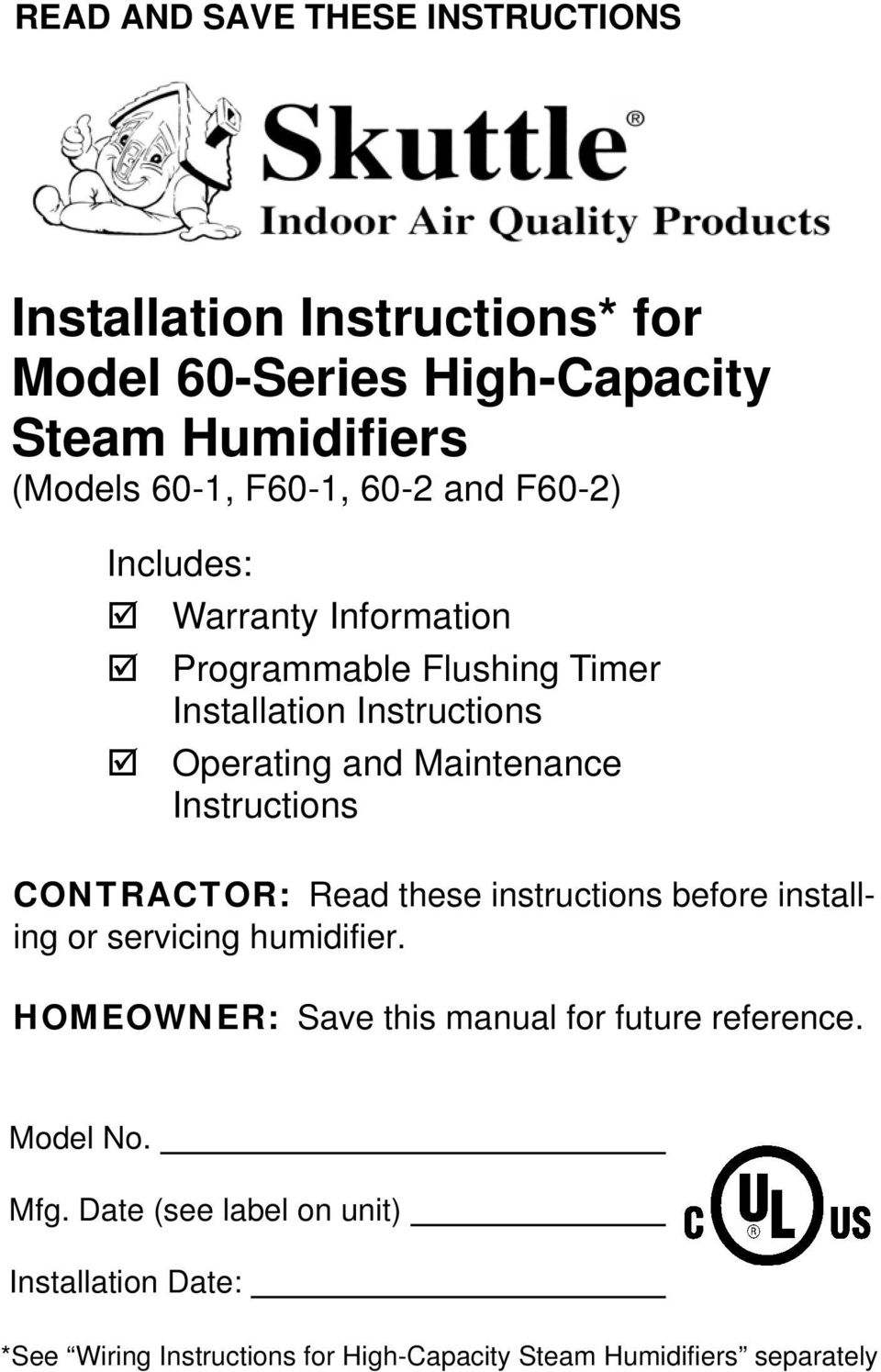 Installation Instructions For Model 60 Series High Capacity Steam Wiring Reference Contractor Read These Before Installing Or Servicing Humidifier