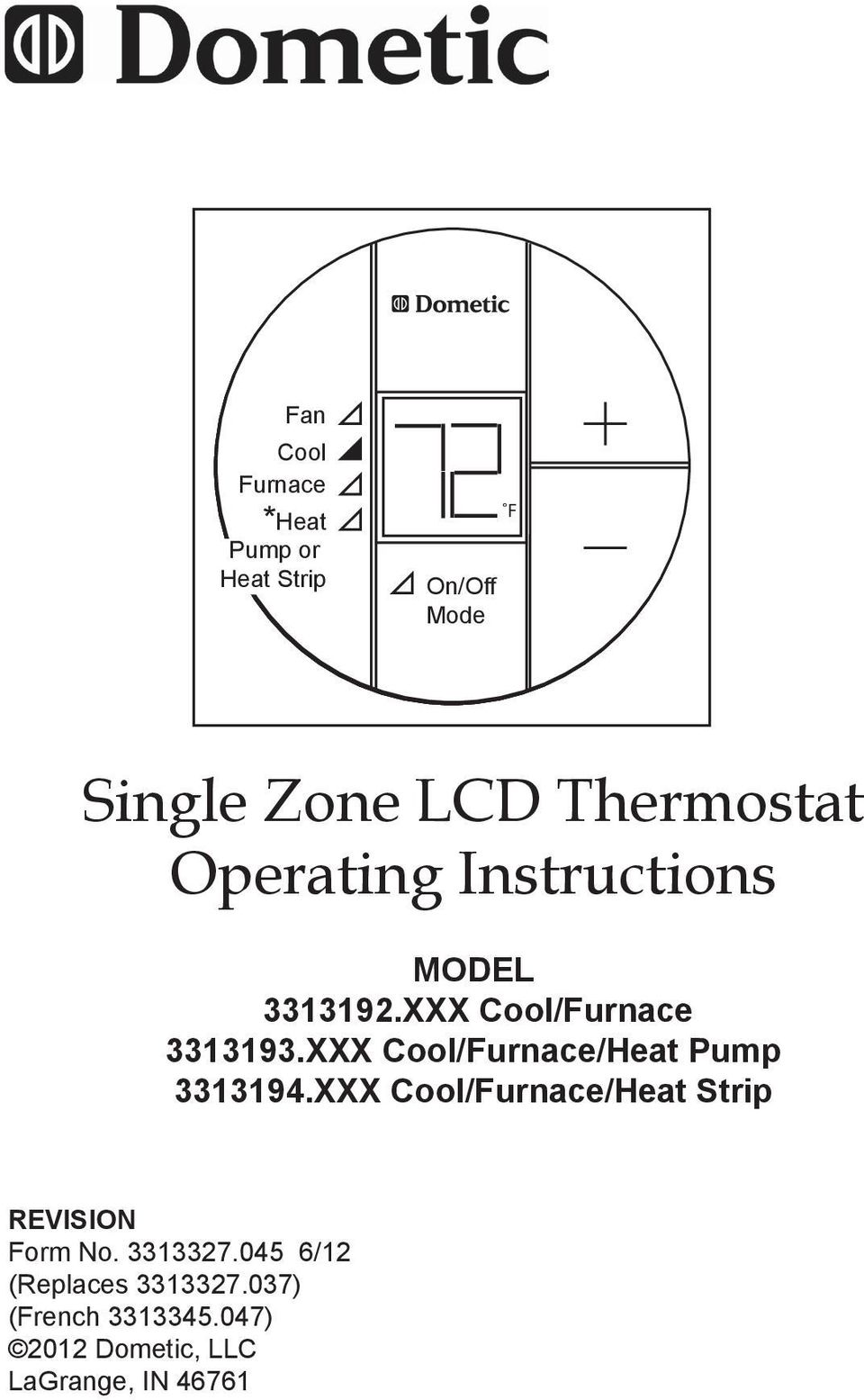 Single Zone Lcd Thermostat Operating Instructions Pdf Dometic Wiring Diagram Xxx Cool Furnace Heat Pump 3313194xxx Strip