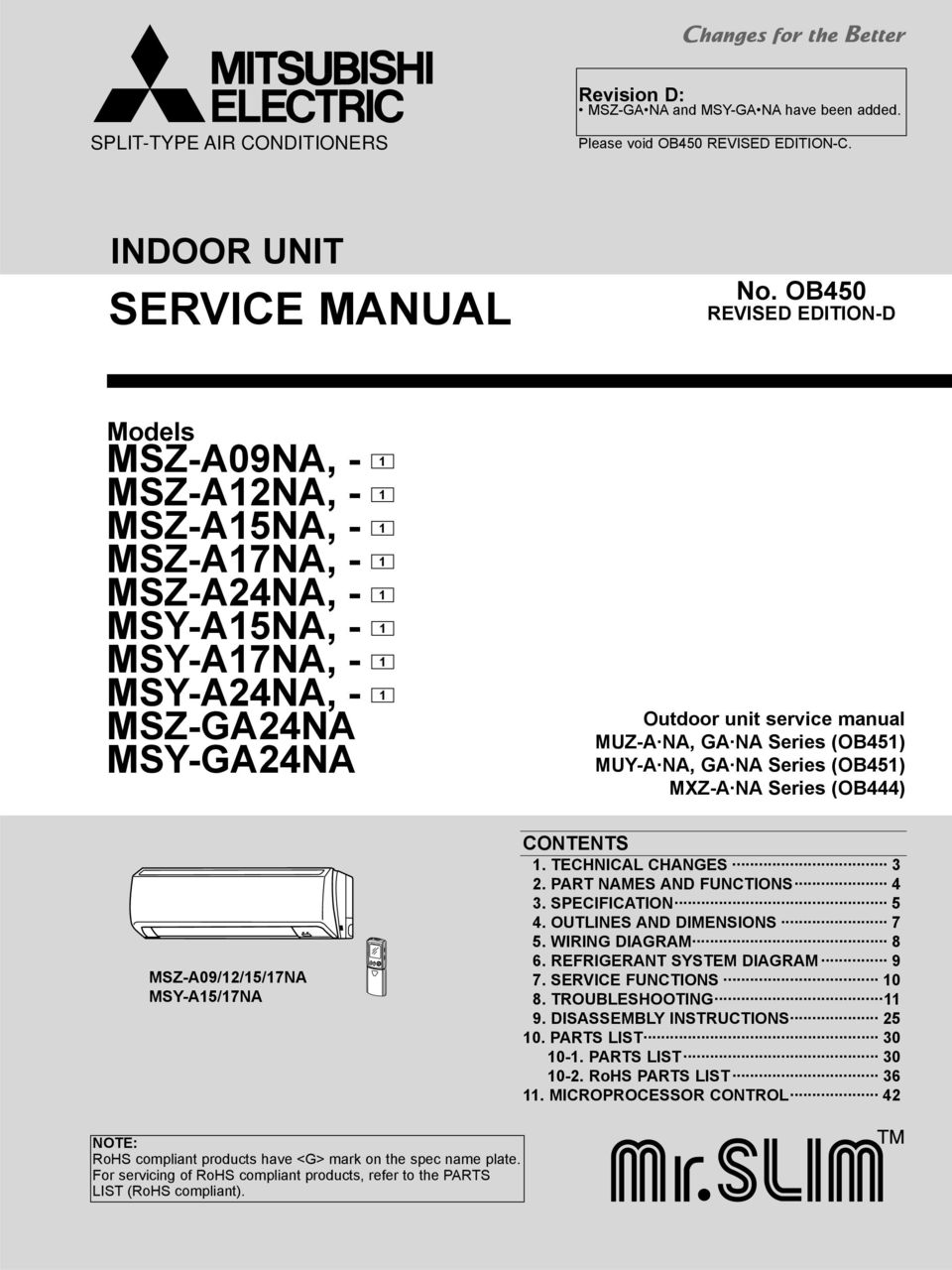 service manual indoor unit no ob450 models revision d split rh docplayer net