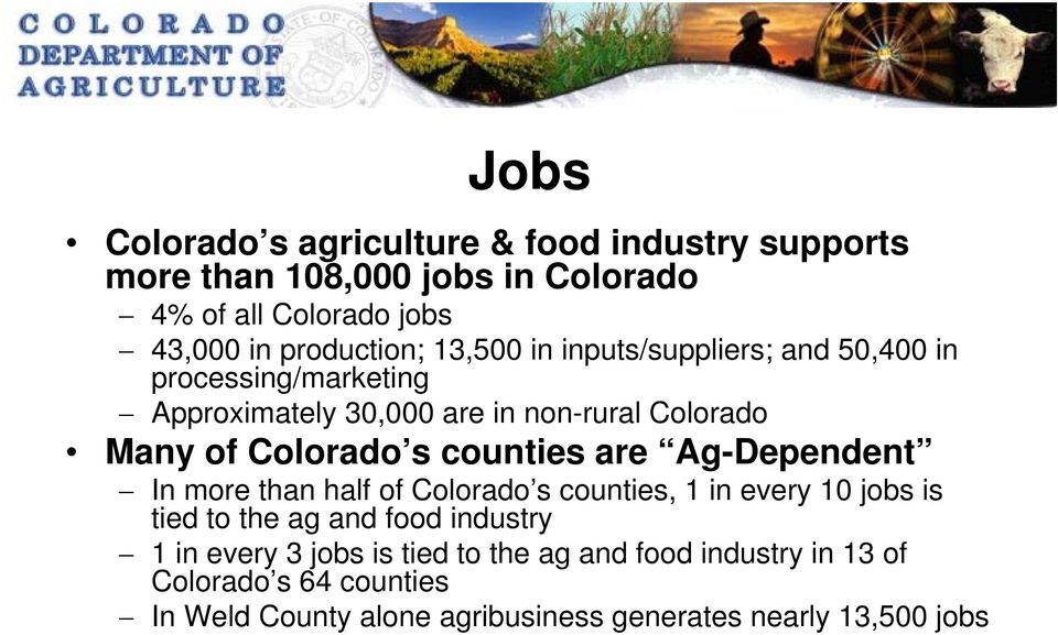counties are Ag-Dependent In more than half of Colorado s counties, 1 in every 10 jobs is tied to the ag and food industry 1 in every