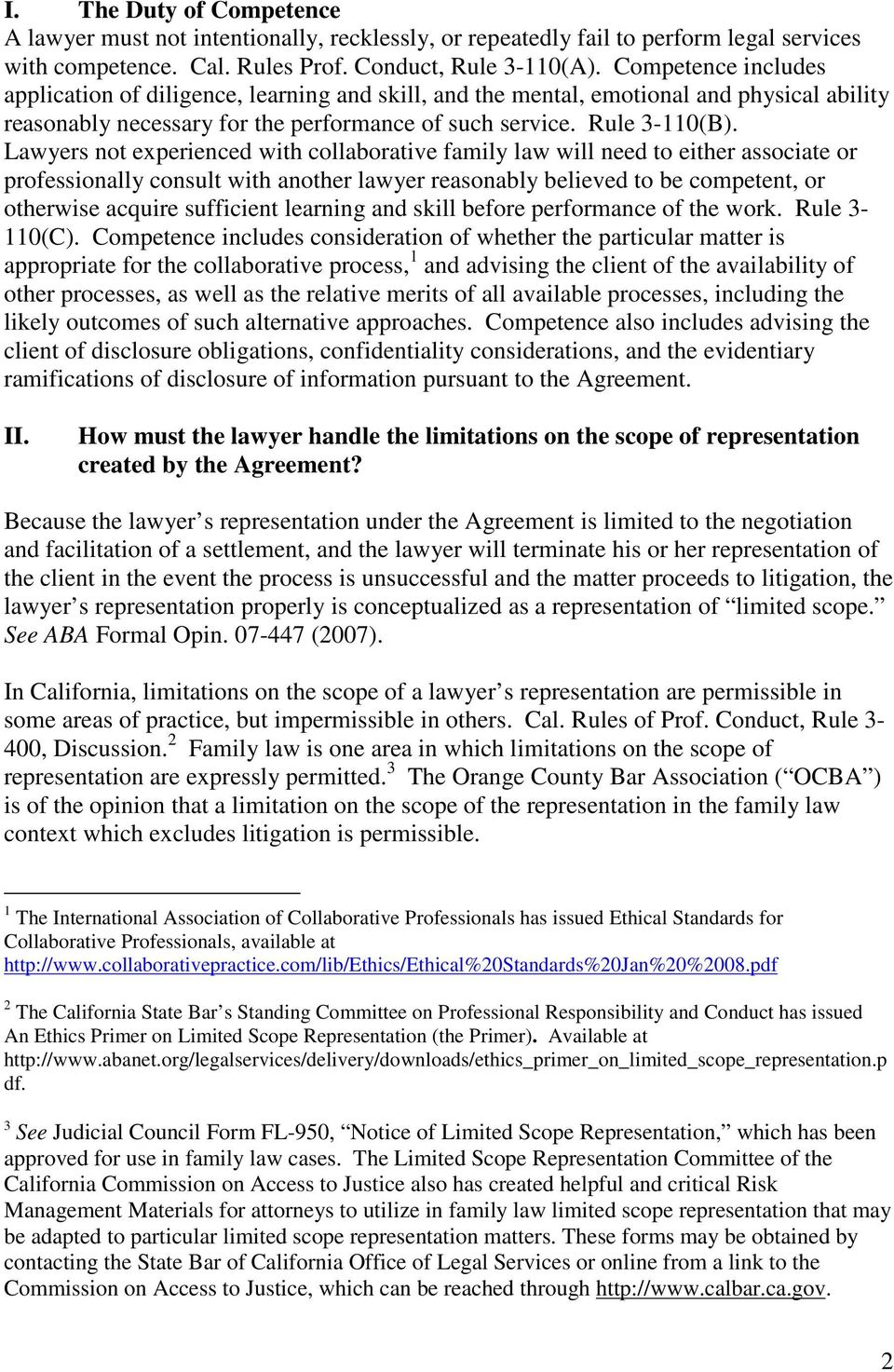 Orange County Bar Association Formal Opinion Collaborative Family