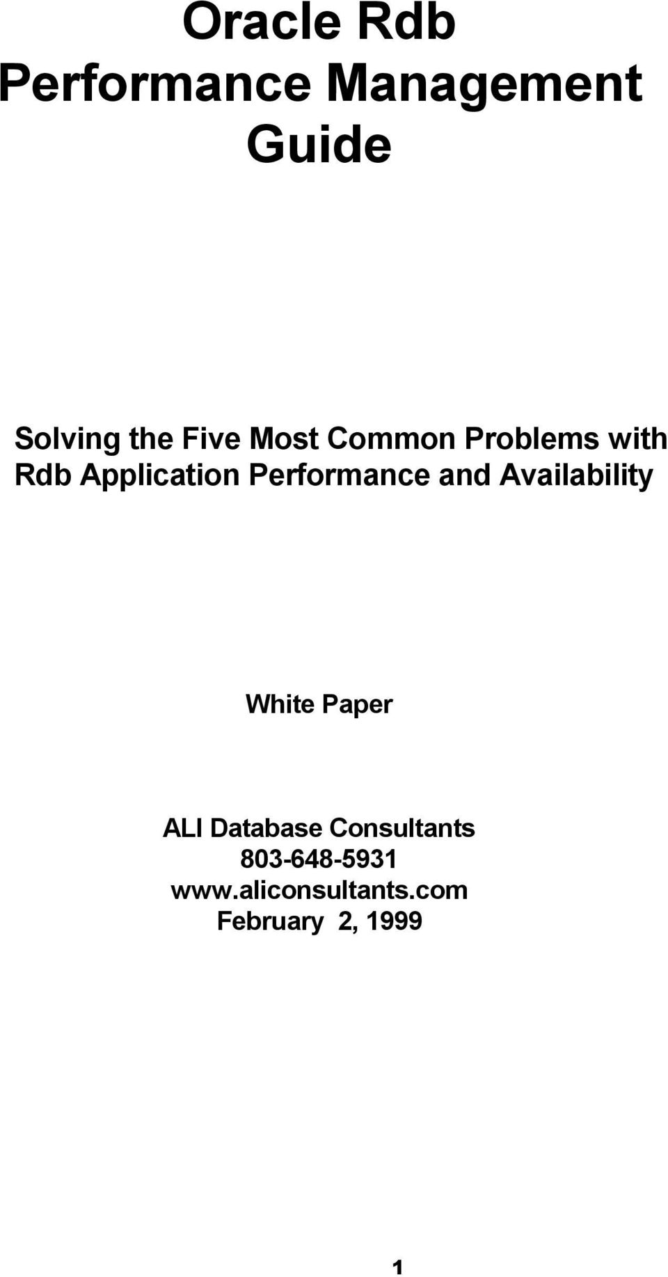 Performance and Availability White Paper ALI Database