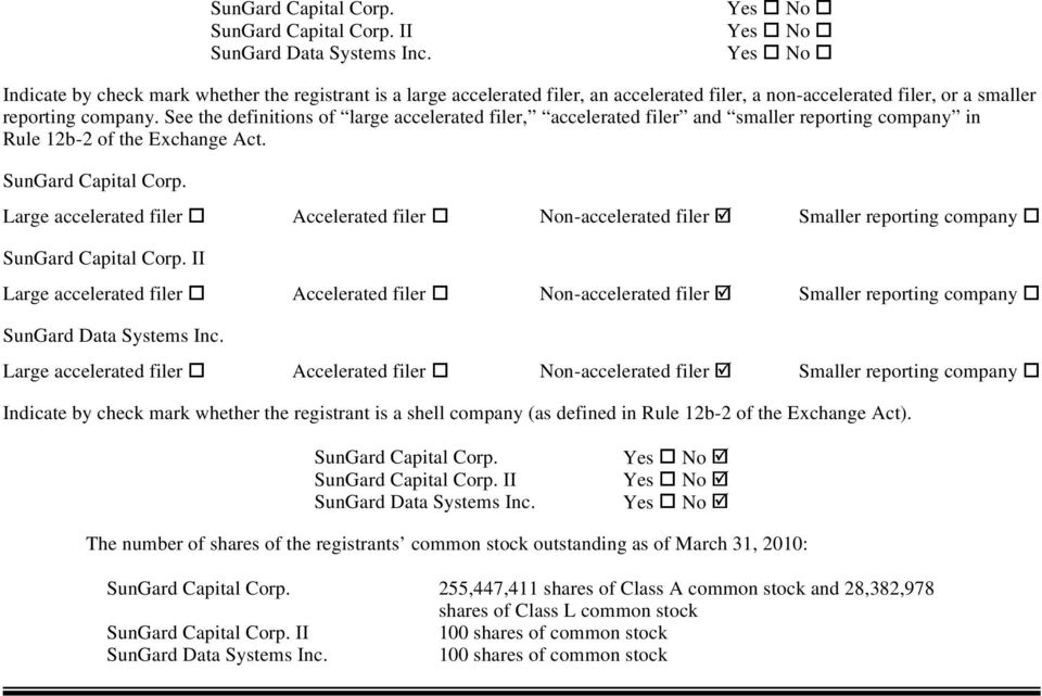 See the definitions of large accelerated filer, accelerated filer and smaller reporting company in Rule 12b-2 of the Exchange Act. SunGard Capital Corp.