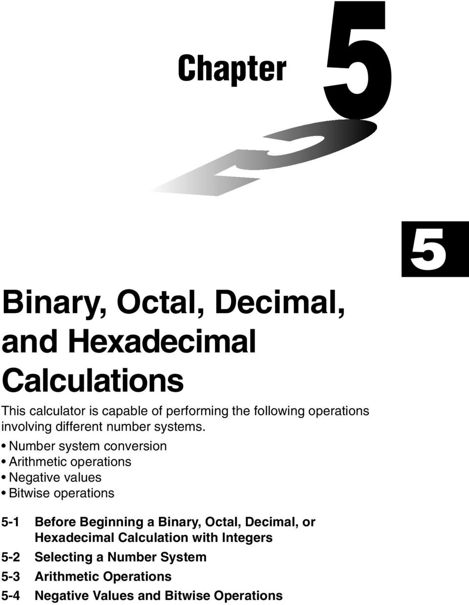 Chapter Binary, Octal, Decimal, and Hexadecimal Calculations