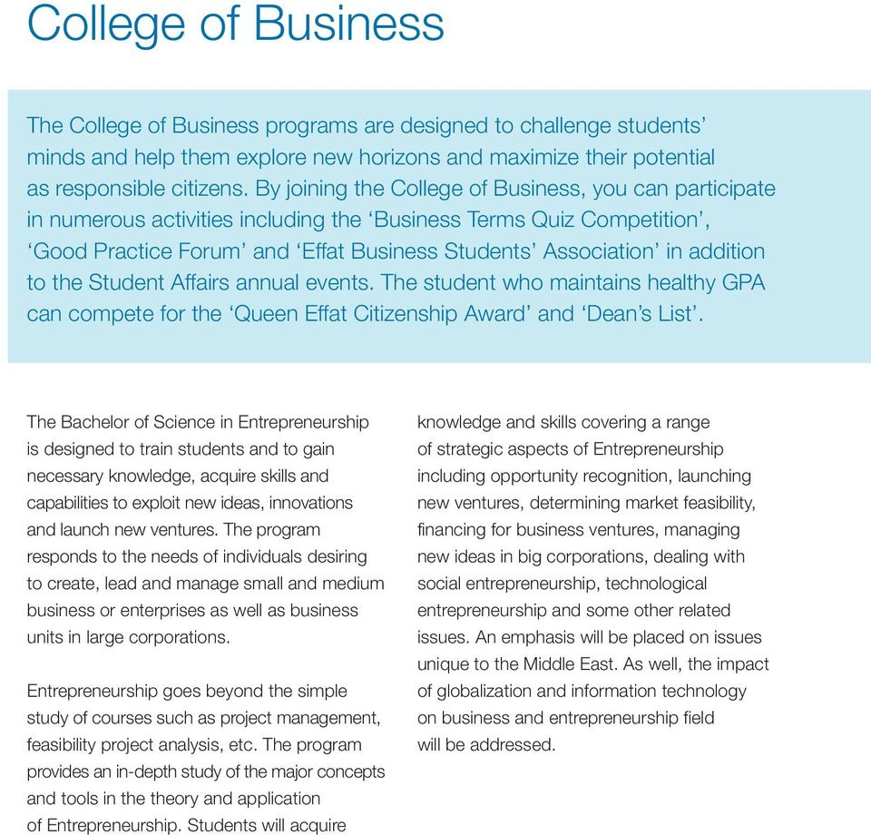College of Business Entrepreneurship Program - PDF