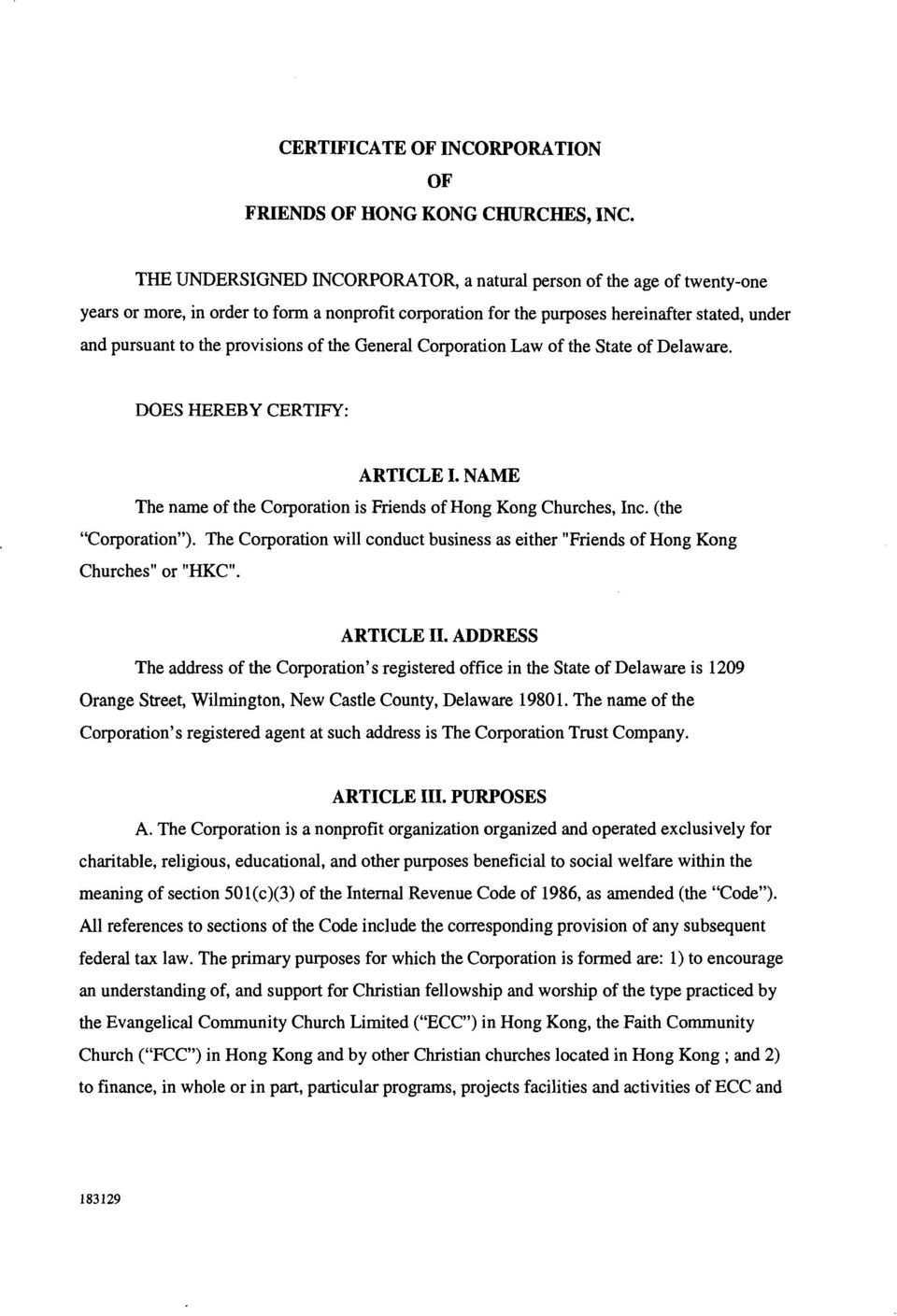 Certificate Of Incorporation Of Friends Of Hong Kong Churches Inc