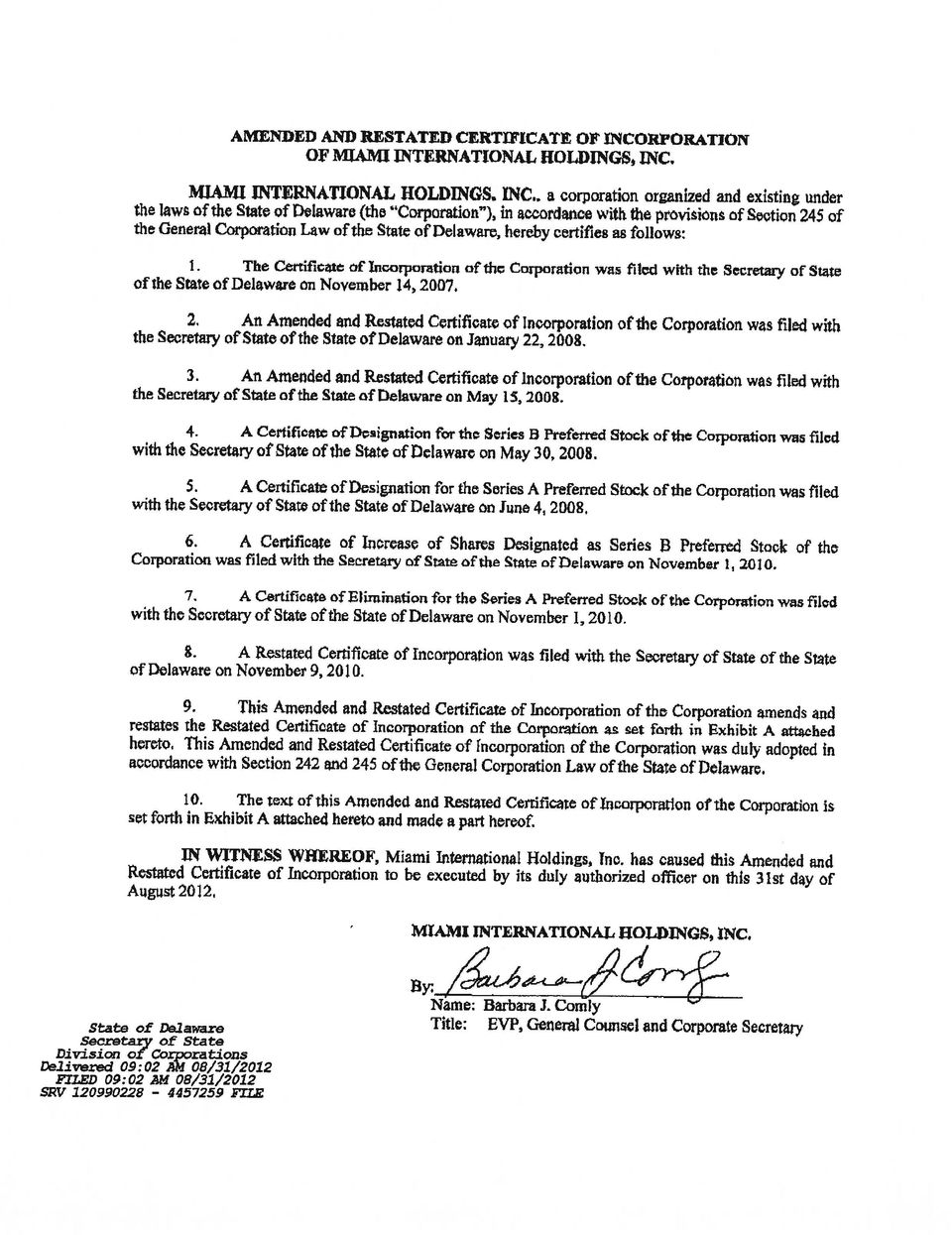 Amended And Restated Certificate Of Incorporation Of Miami