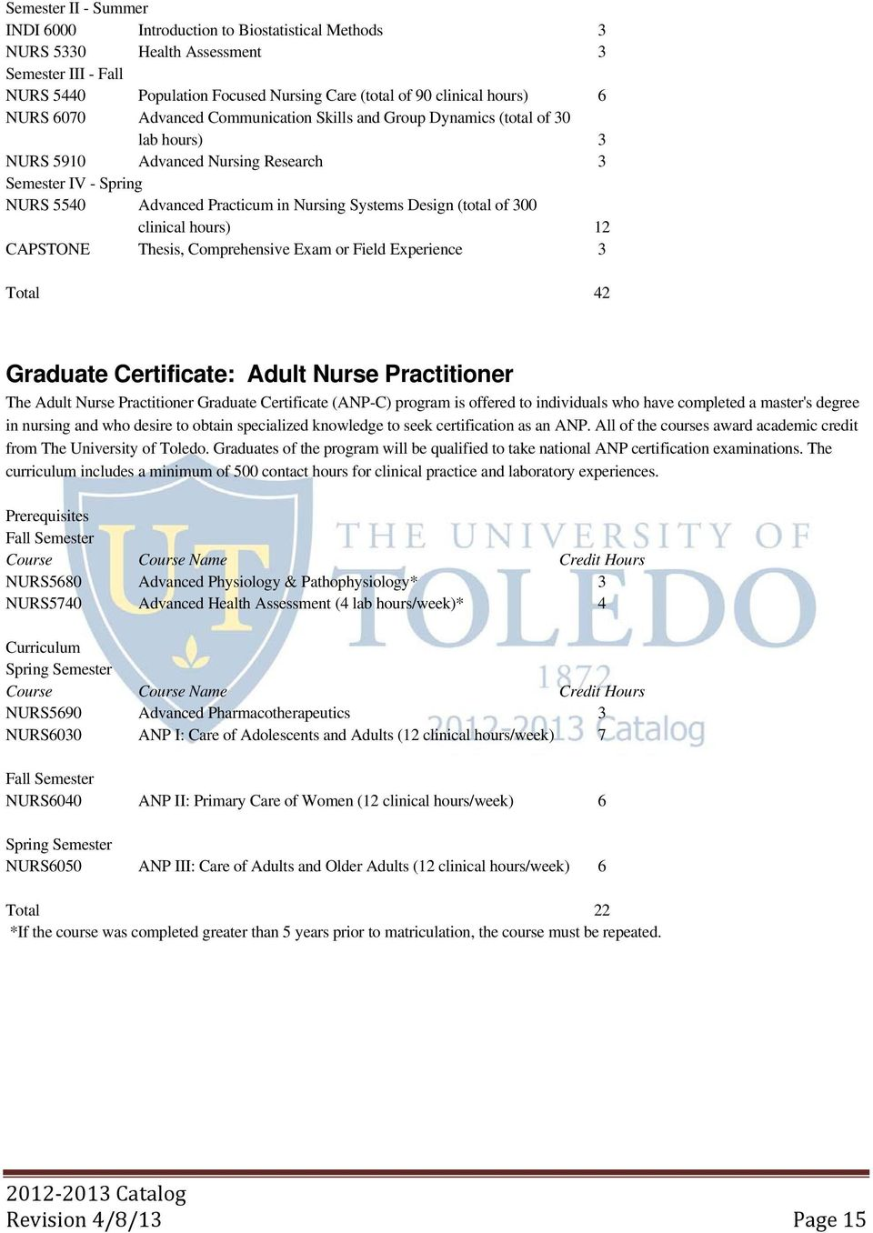 (total of 300 clinical hours) 12 CAPSTONE Thesis, Comprehensive Exam or Field Experience 3 Total 42 Graduate Certificate: Adult Nurse Practitioner The Adult Nurse Practitioner Graduate Certificate