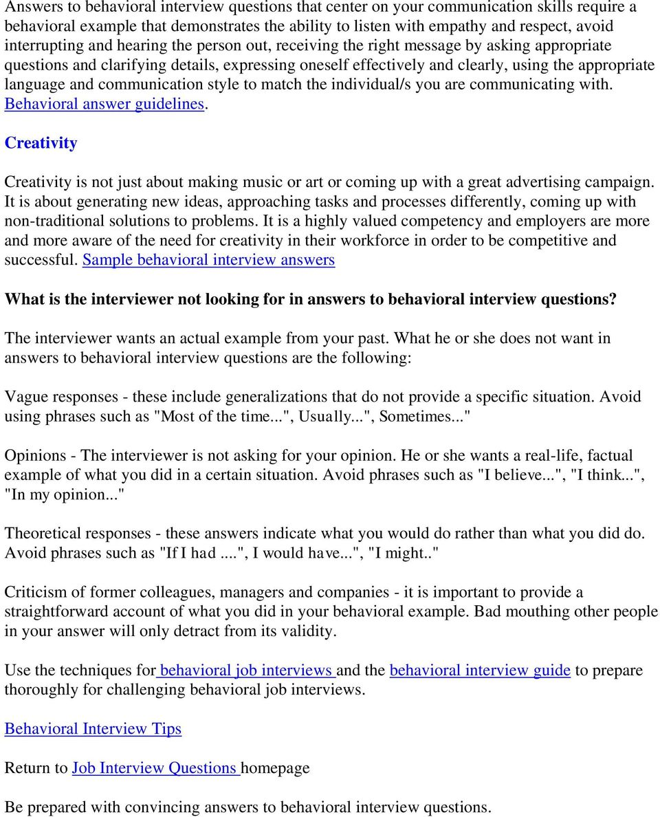 answers to behavioral interview questions - Monza berglauf-verband com