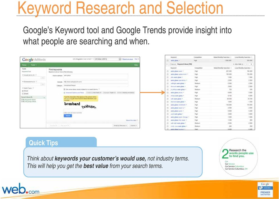 Quick Tips Think about keywords your customer s would use, not