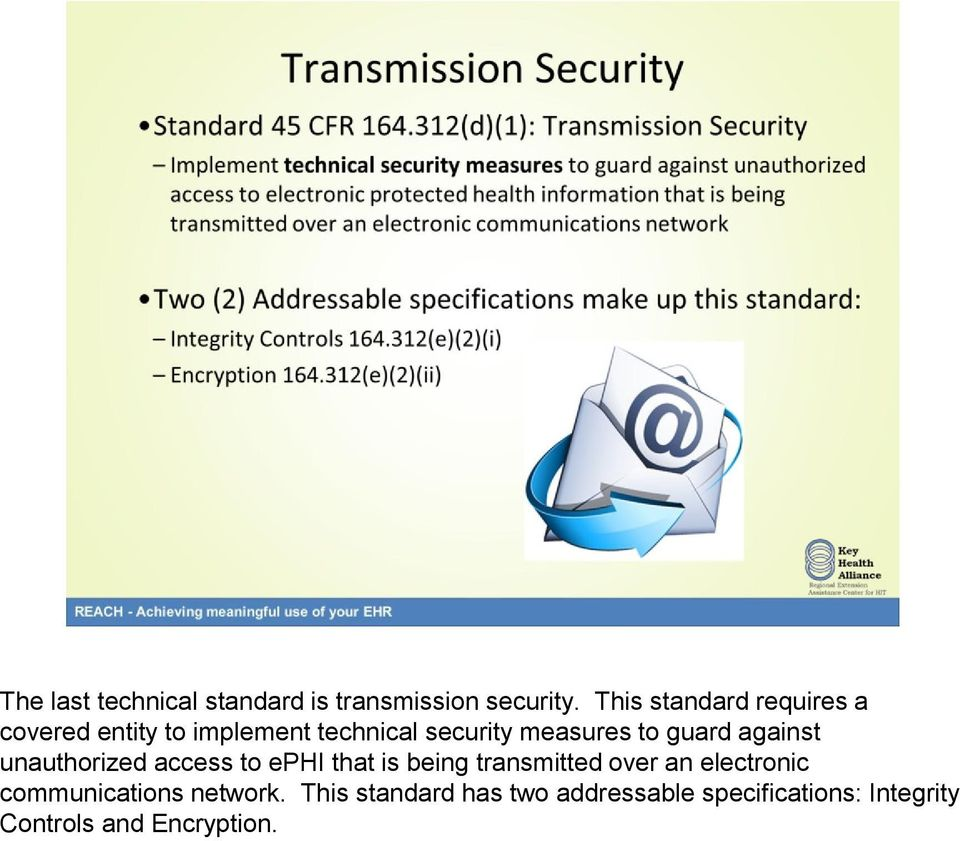 guard against unauthorized access to ephi that is being transmitted over an