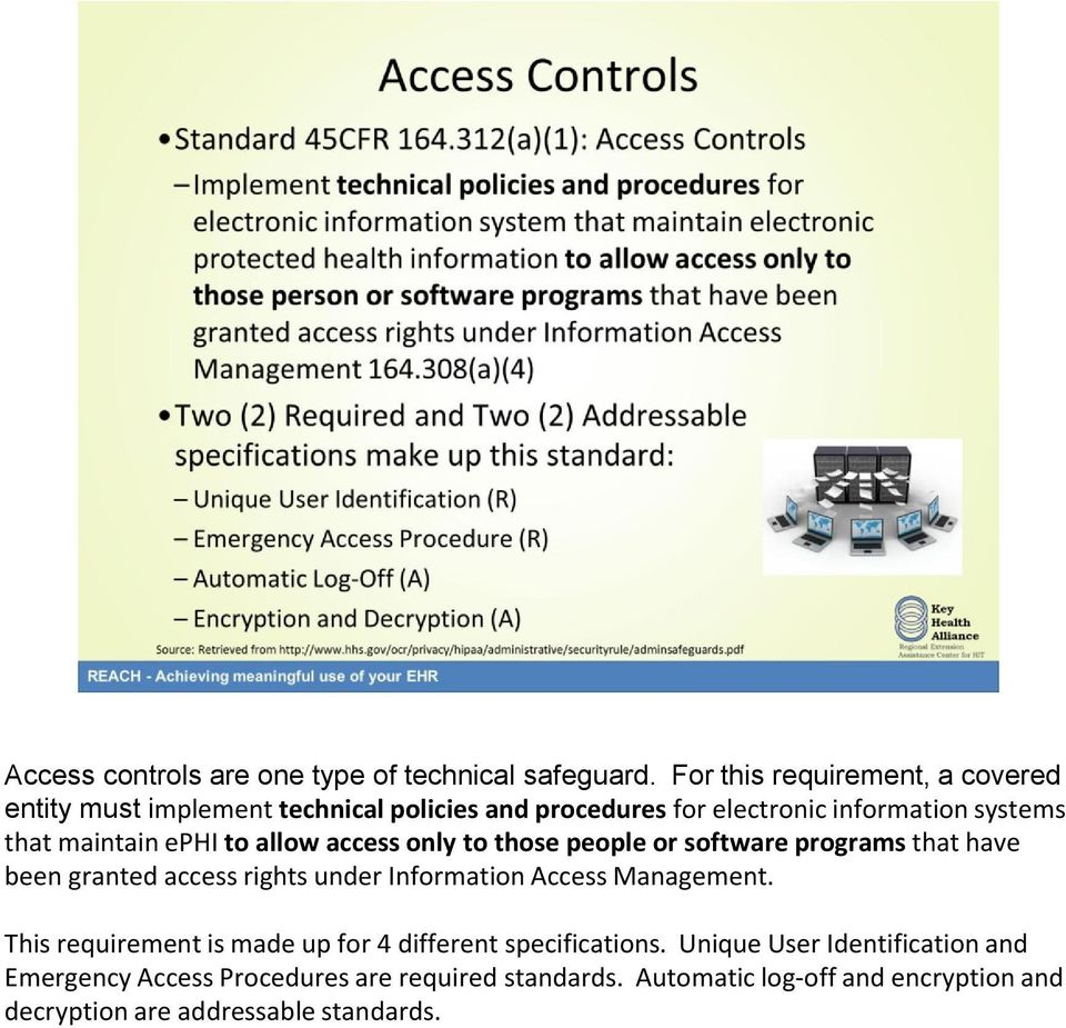 maintain ephi to allow access only to those people or software programs that have been granted access rights under Information Access