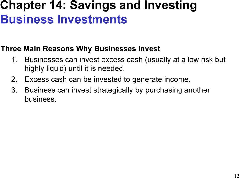 Chapter 14 Savings And Investing Savings And Investing PDF