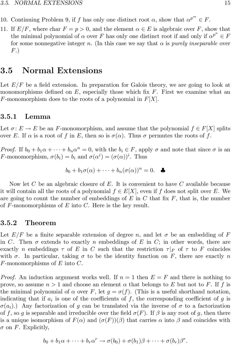 field extensions and galois theory