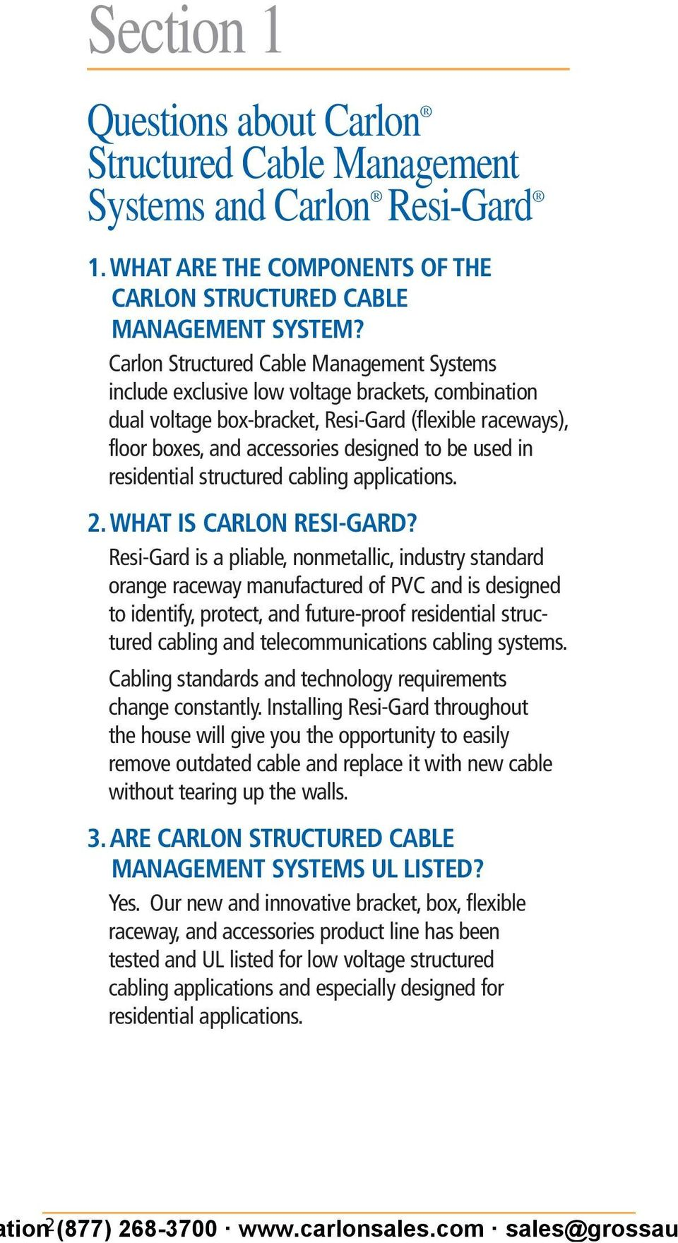 Carlon Structured Cable Management Systems Handbook Pdf Wiring Enclosure Accessories Used In Residential Cabling Applications 2 What Is Resi Gard