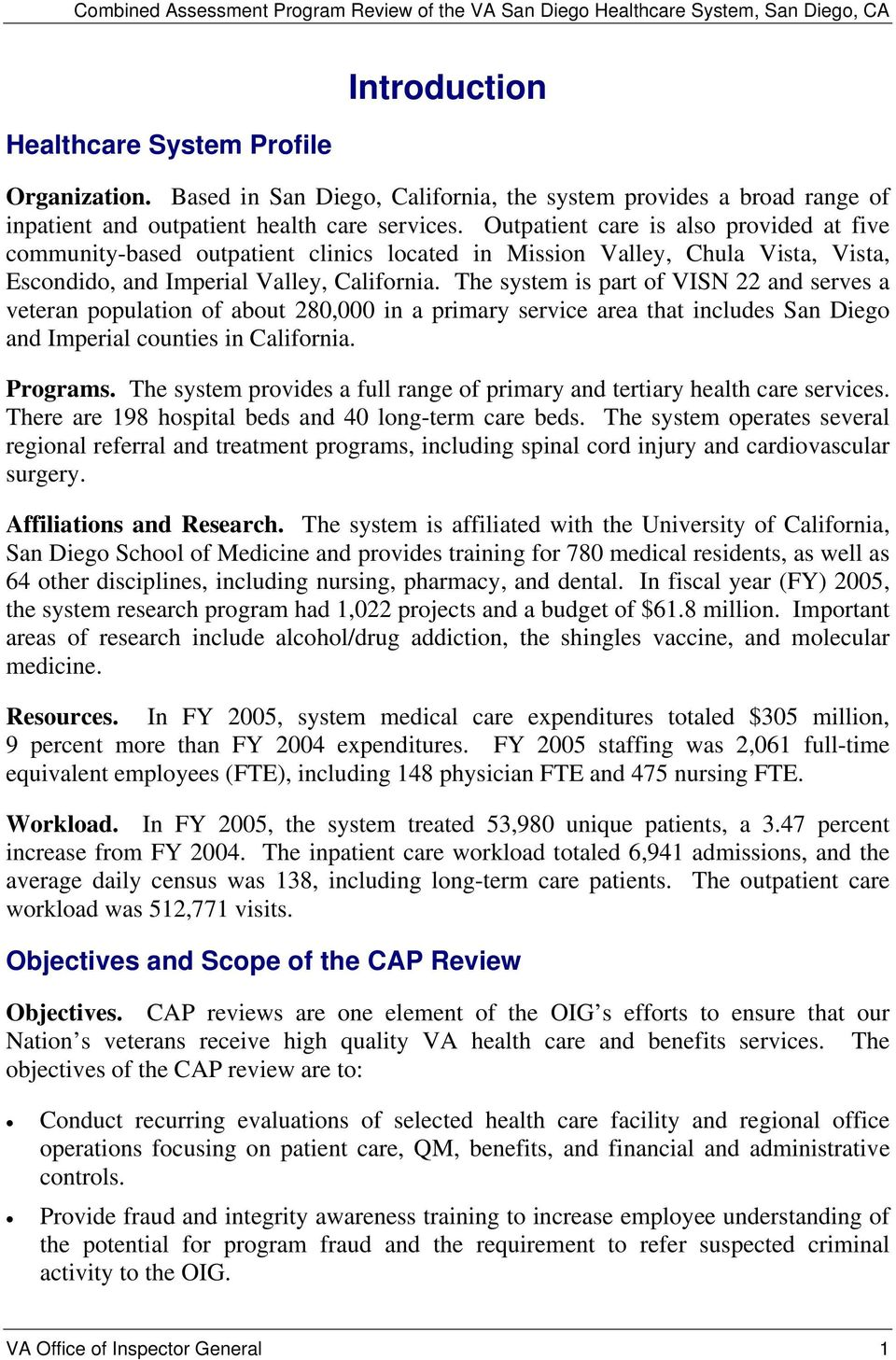 Combined Assessment Program Review of the VA San Diego