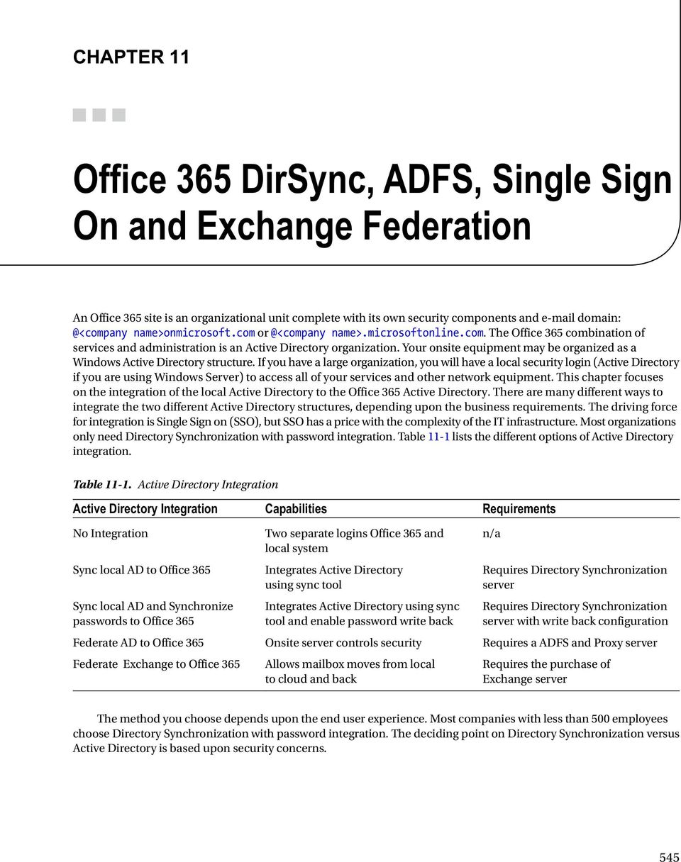 Office 365 DirSync, ADFS, Single Sign On and Exchange Federation - PDF