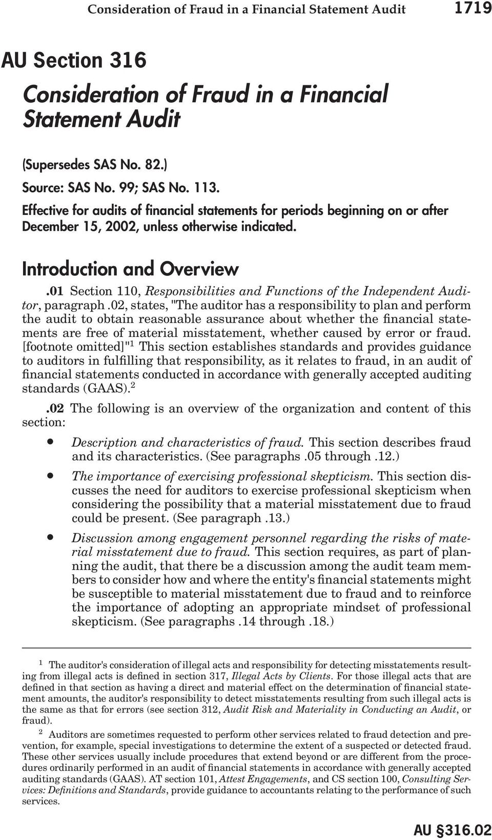 01 Section 110, Responsibilities and Functions of the Independent Auditor, paragraph.