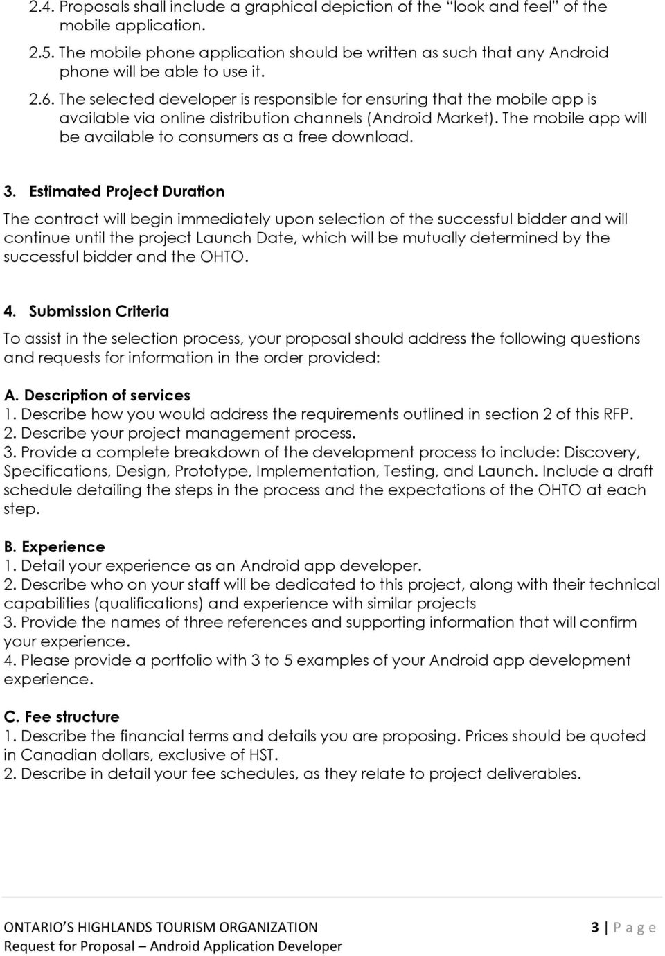 Request for Proposal Android Application Developer - PDF