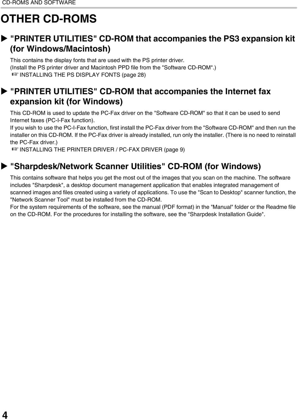 ") INSTALLING THE PS DISPLAY FONTS (page 28) ""PRINTER UTILITIES"" CD-ROM that accompanies the Internet fax expansion kit (for Windows) This CD-ROM is used to update the PC-Fax driver on the ""Software"