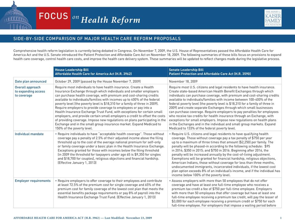 The following summaries of these bills focus on provisions to expand health care coverage, control health care costs, and improve the health care delivery system.