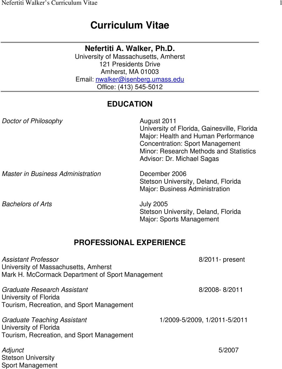 Curriculum Vitae Education Master In Business Administration